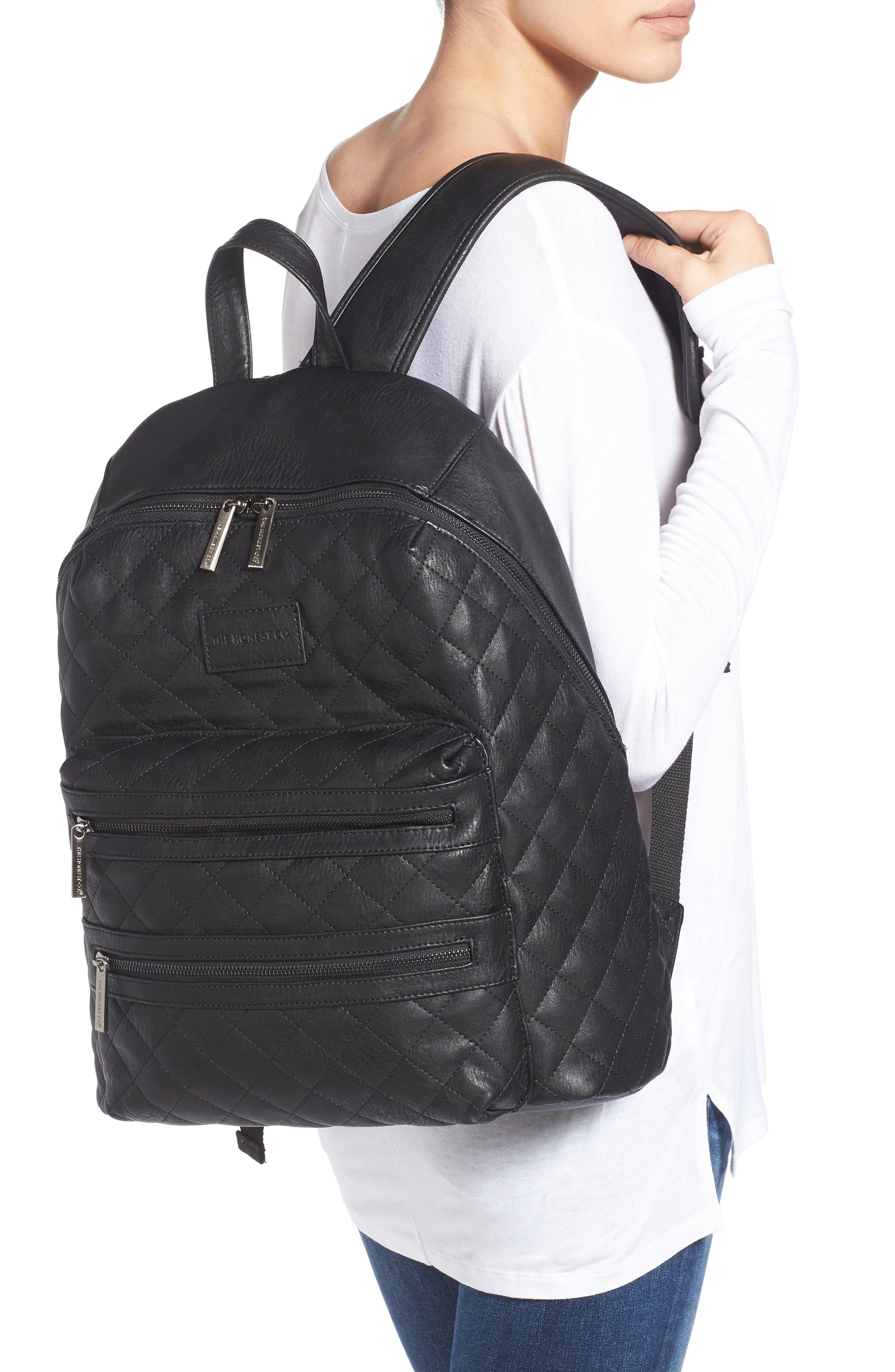 City Quilted Faux Leather Diaper Backpack,                             Alternate thumbnail 2, color,                             001
