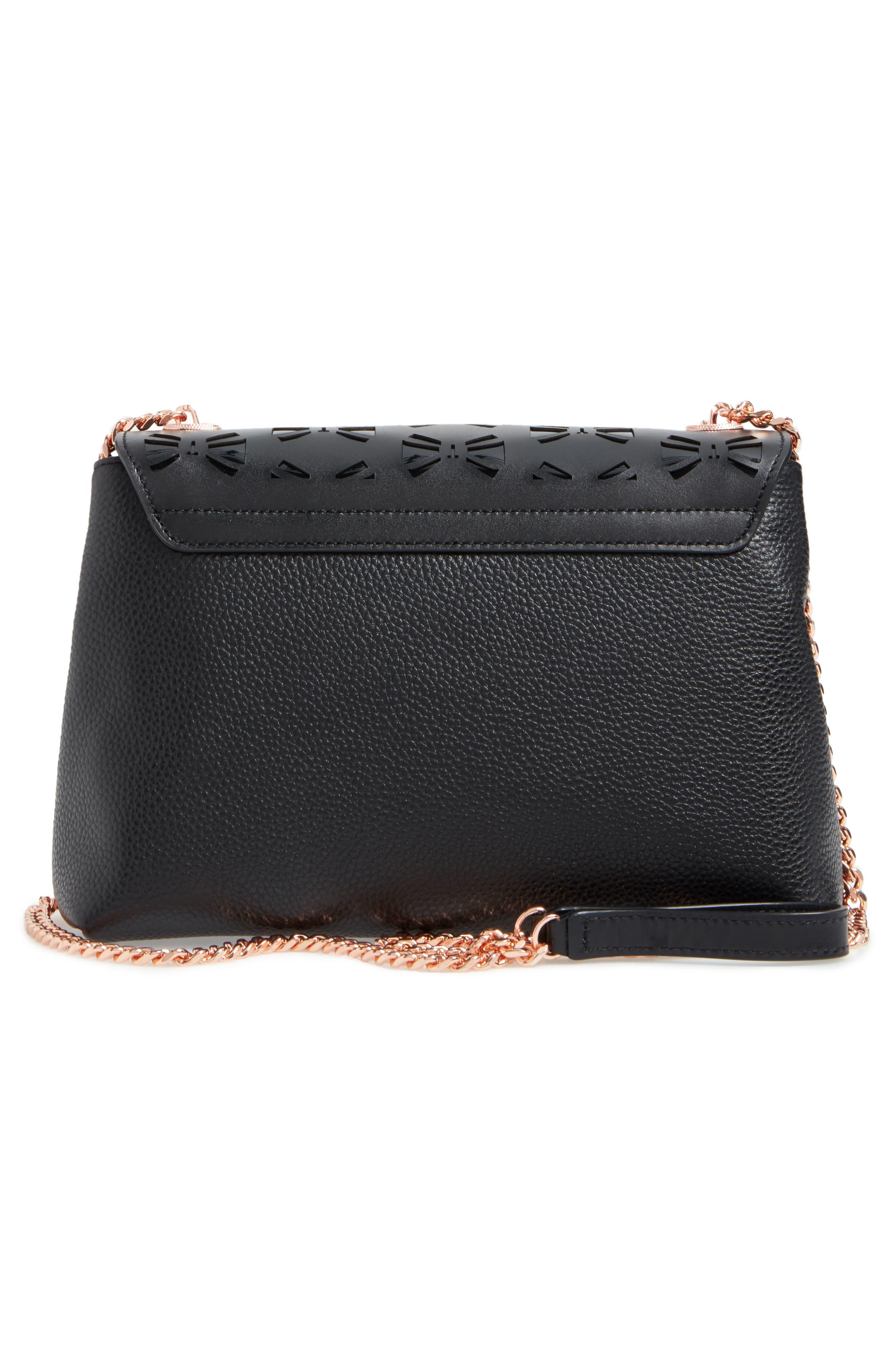 Leather Crossbody Bag,                             Alternate thumbnail 3, color,                             001