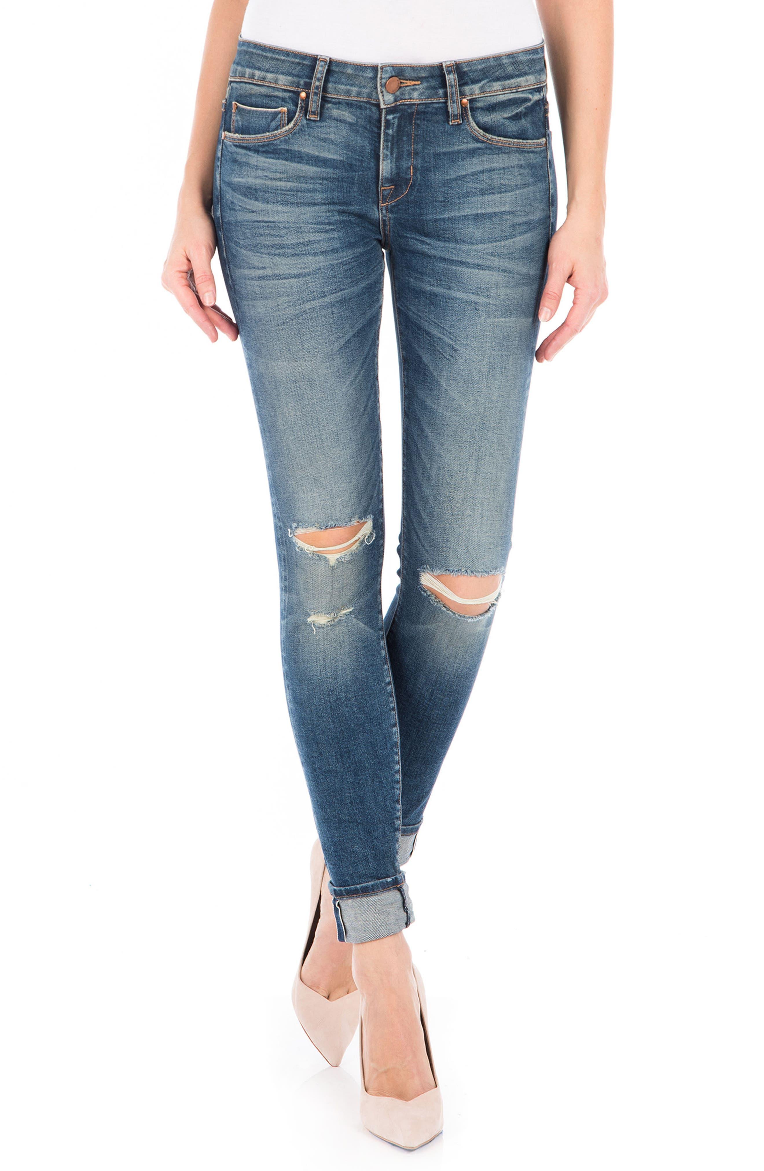 Mila Selvedge Ankle Skinny Jeans,                             Main thumbnail 1, color,                             400