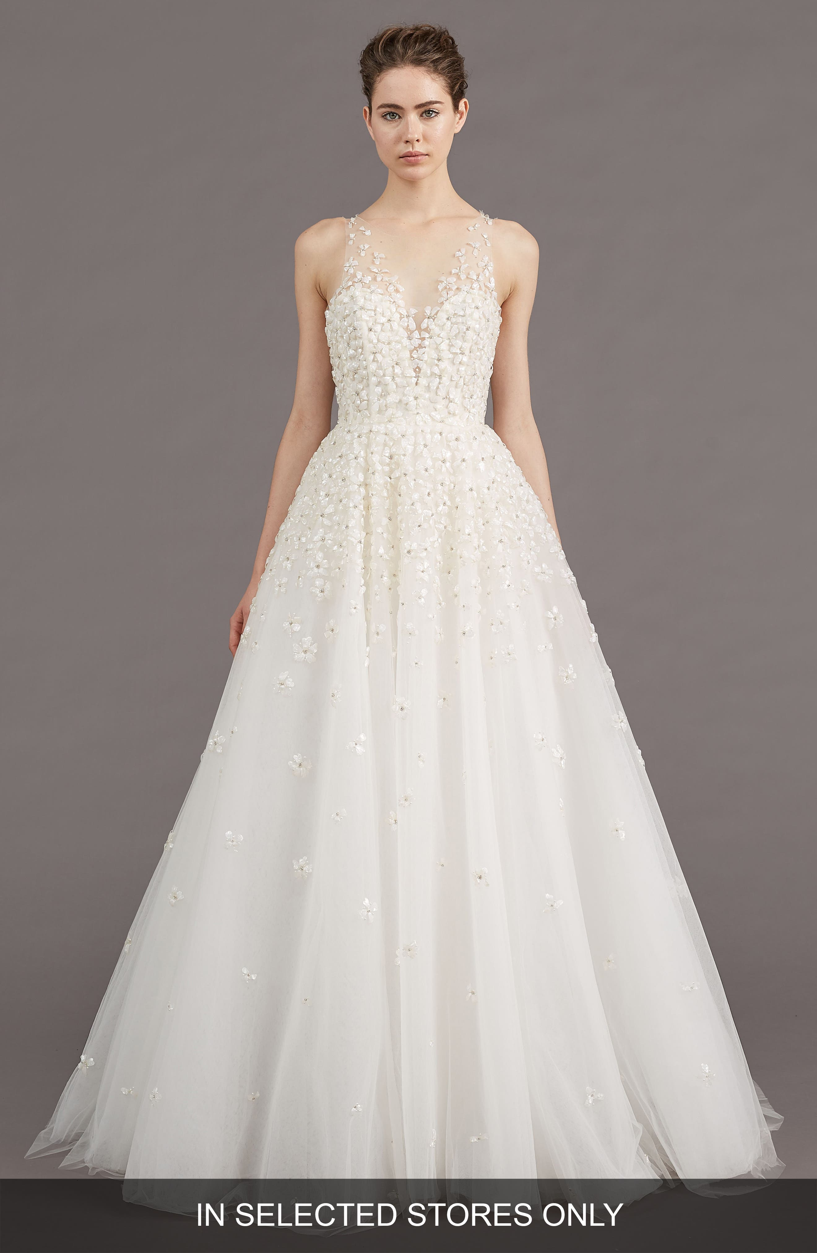 Callie Embellished A-line Gown,                             Main thumbnail 1, color,                             IVORY