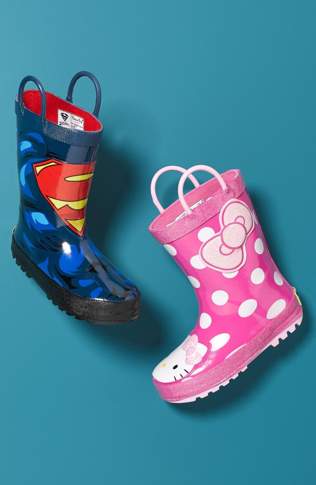 Hello Kitty<sup>®</sup> - Cutie Dot Waterproof Rain Boot,                             Alternate thumbnail 5, color,                             650