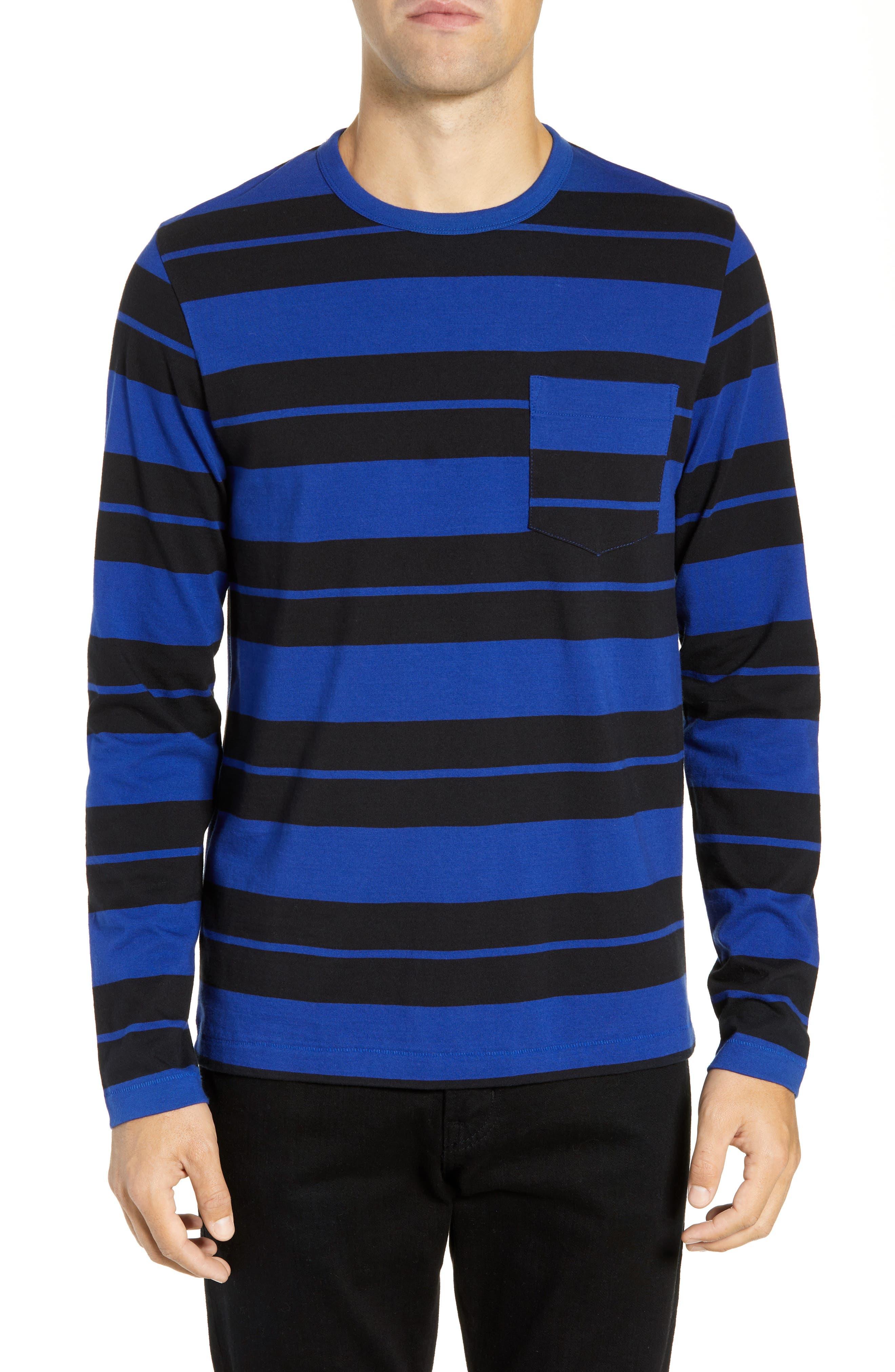 French Connection Fran Varsity Stripe Regular Fit T-Shirt, Blue