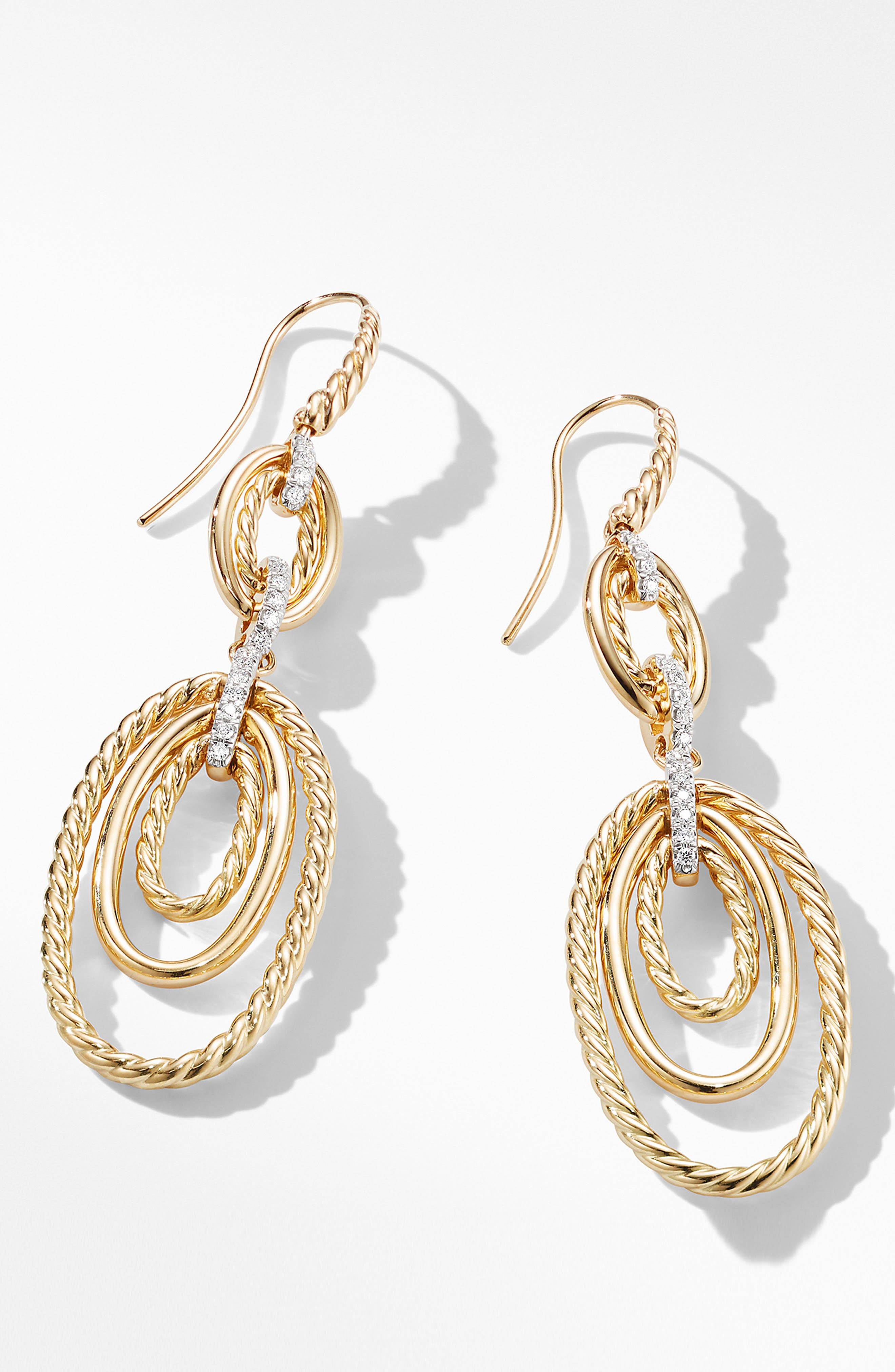 Continuance Drop Earrings with Diamonds in 18K Yellow Gold,                             Alternate thumbnail 2, color,                             GOLD/ DIAMOND