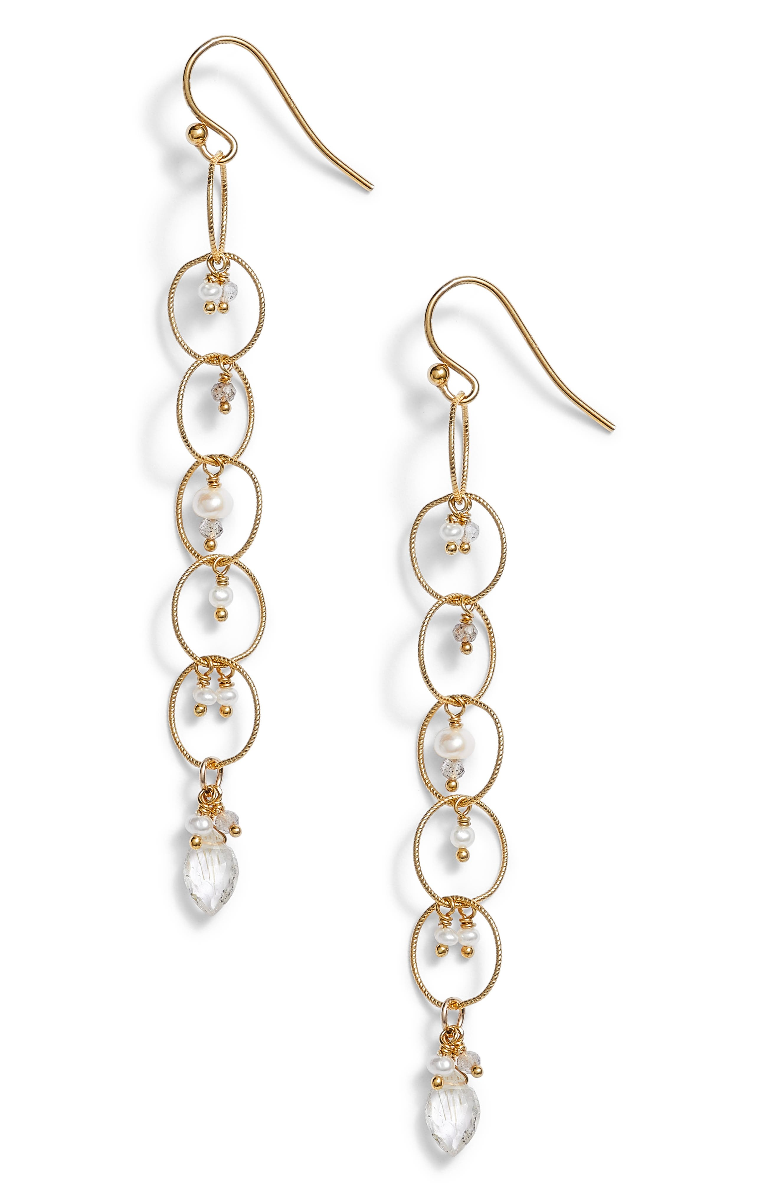 Chain Hoop Drop Earrings with Pearls,                             Main thumbnail 1, color,                             100