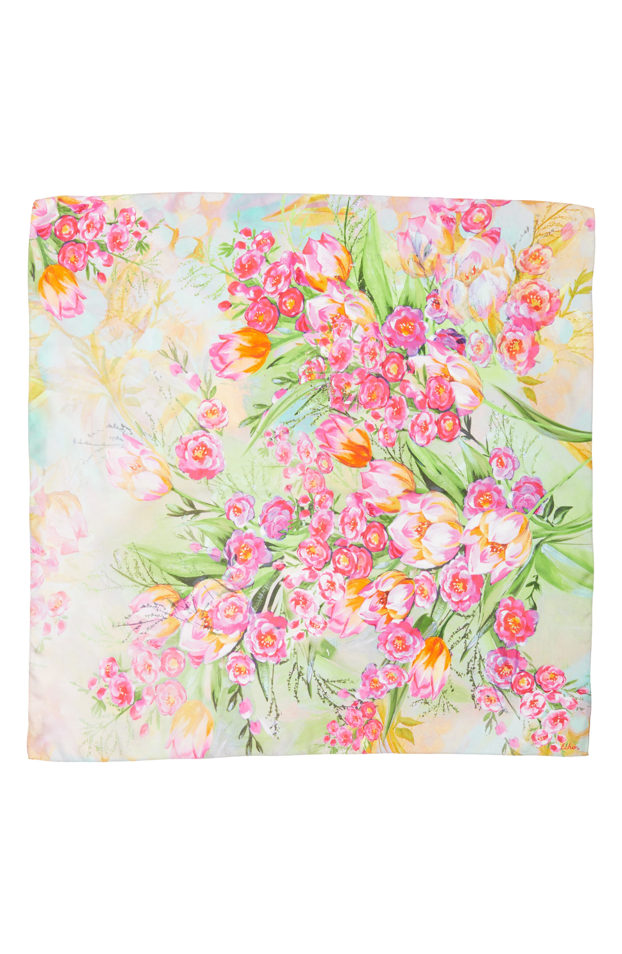Painted Tulip Square Silk Scarf,                             Alternate thumbnail 3, color,                             CORAL