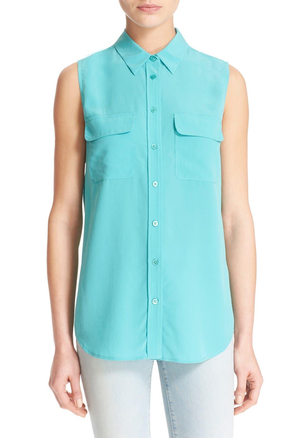'Slim Signature' Sleeveless Silk Shirt,                             Main thumbnail 16, color,