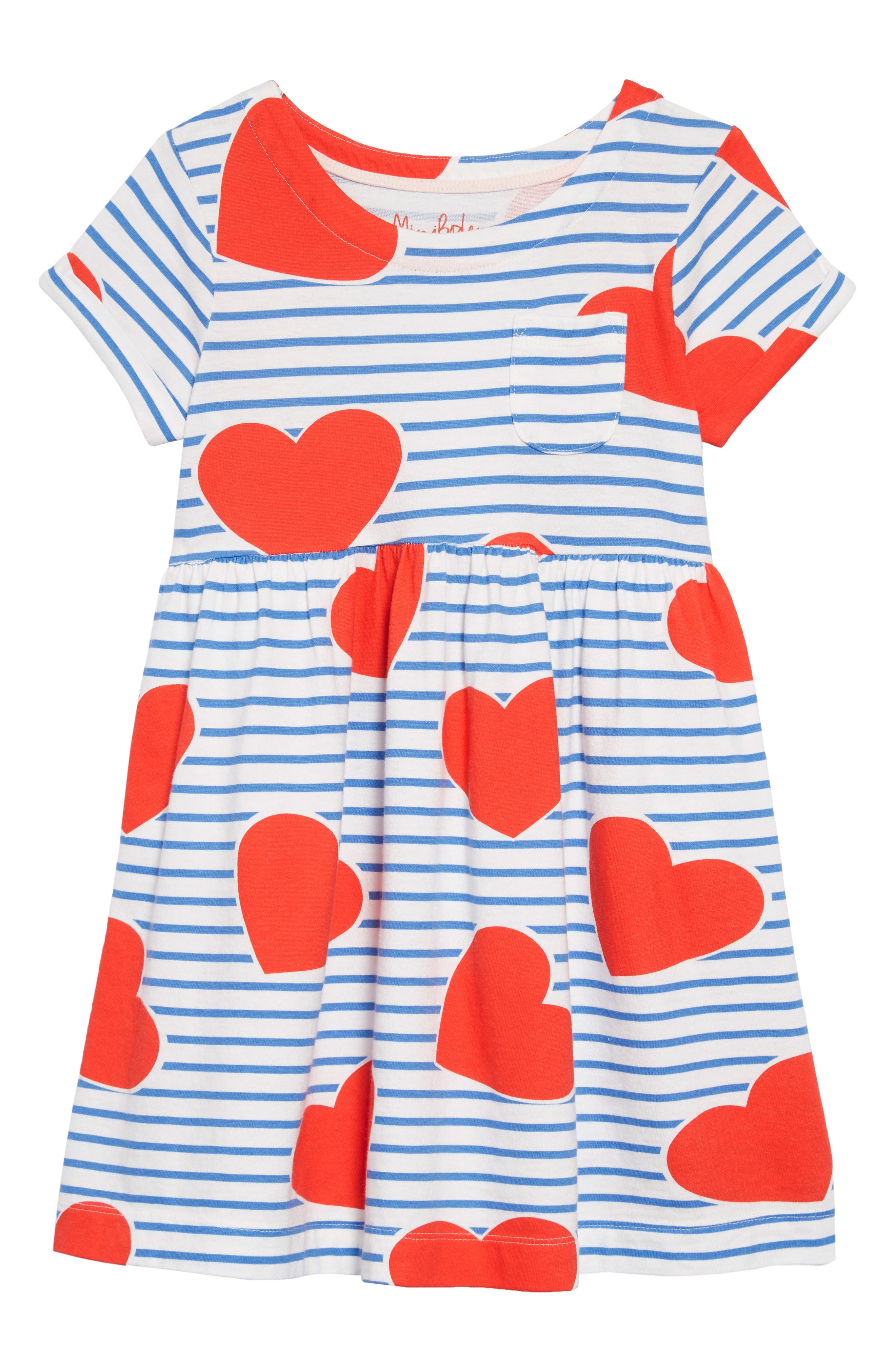 Print Jersey Dress, Main, color, ELIZABETH BLUE/ SRIPE HEARTS