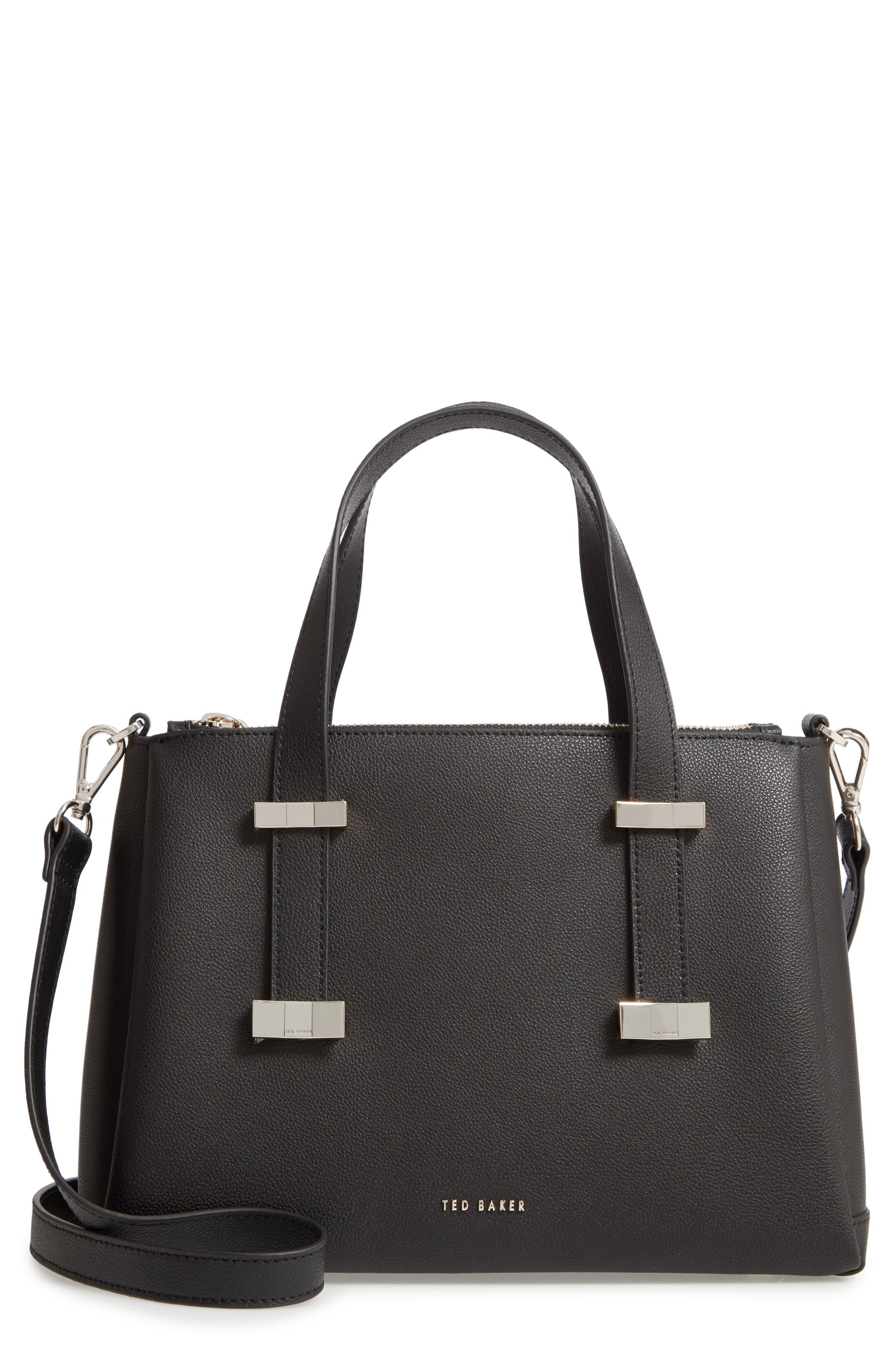 Julieet Large Adjustable Handle Leather Satchel, Main, color, BLACK