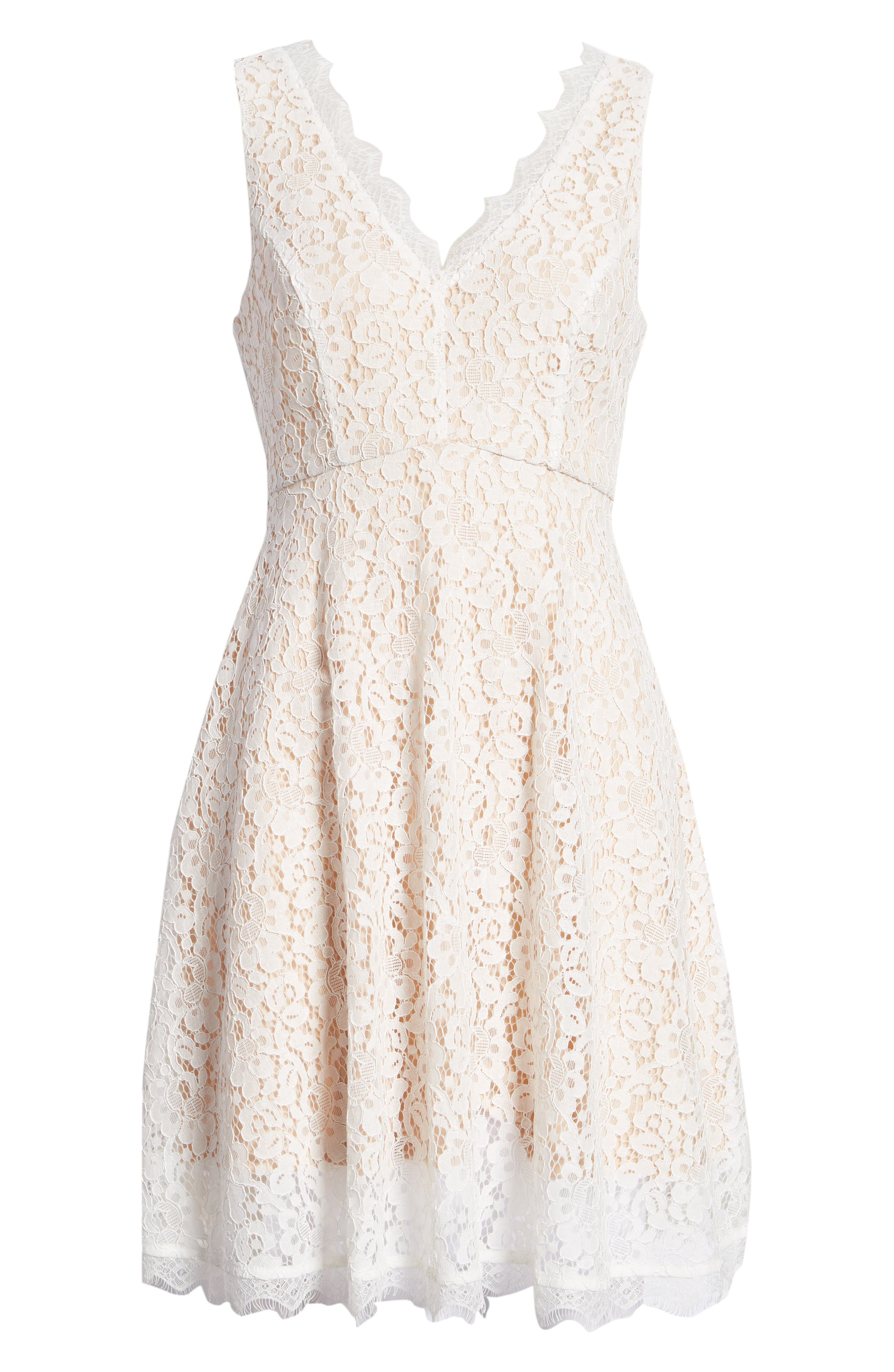 Lace Fit & Flare Dress,                             Alternate thumbnail 7, color,                             IVORY