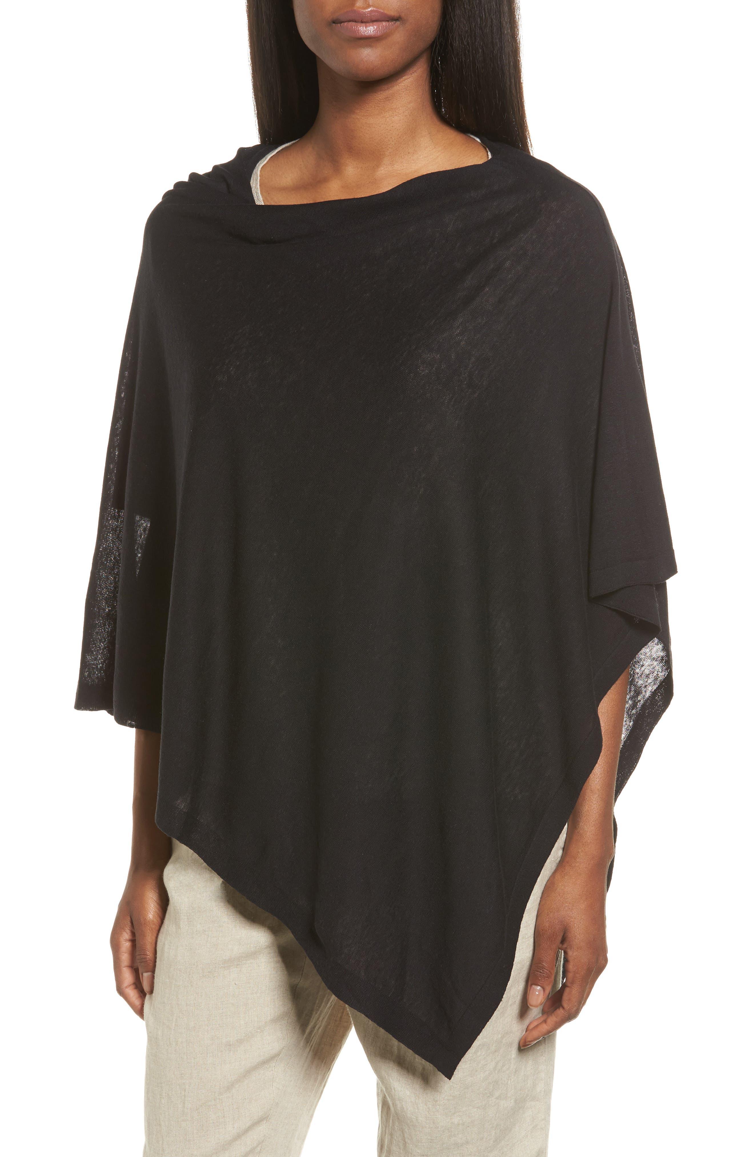 Silk & Organic Linen Poncho, Main, color, 001