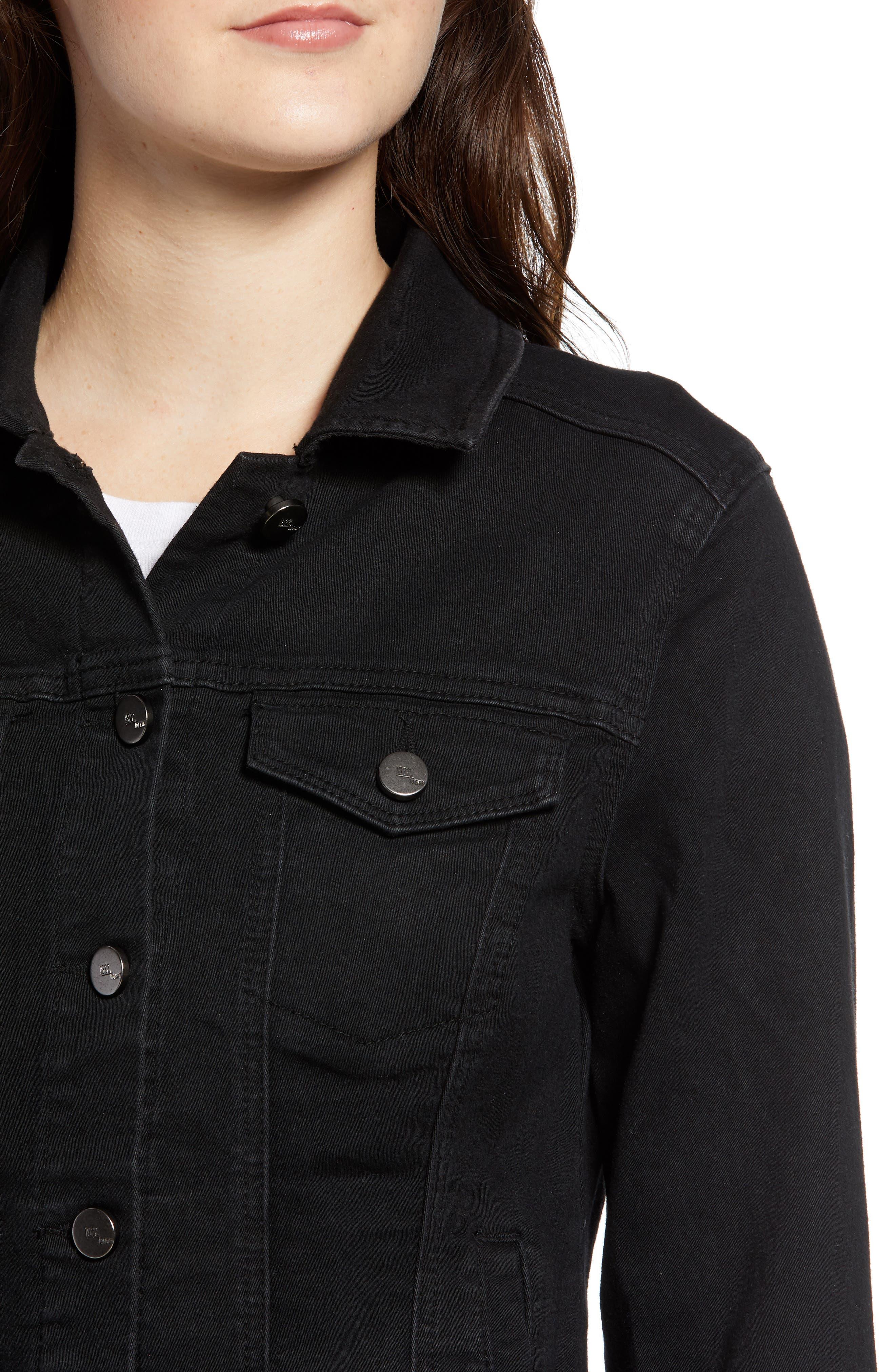 Contour Denim Jacket,                             Alternate thumbnail 4, color,                             BLACK