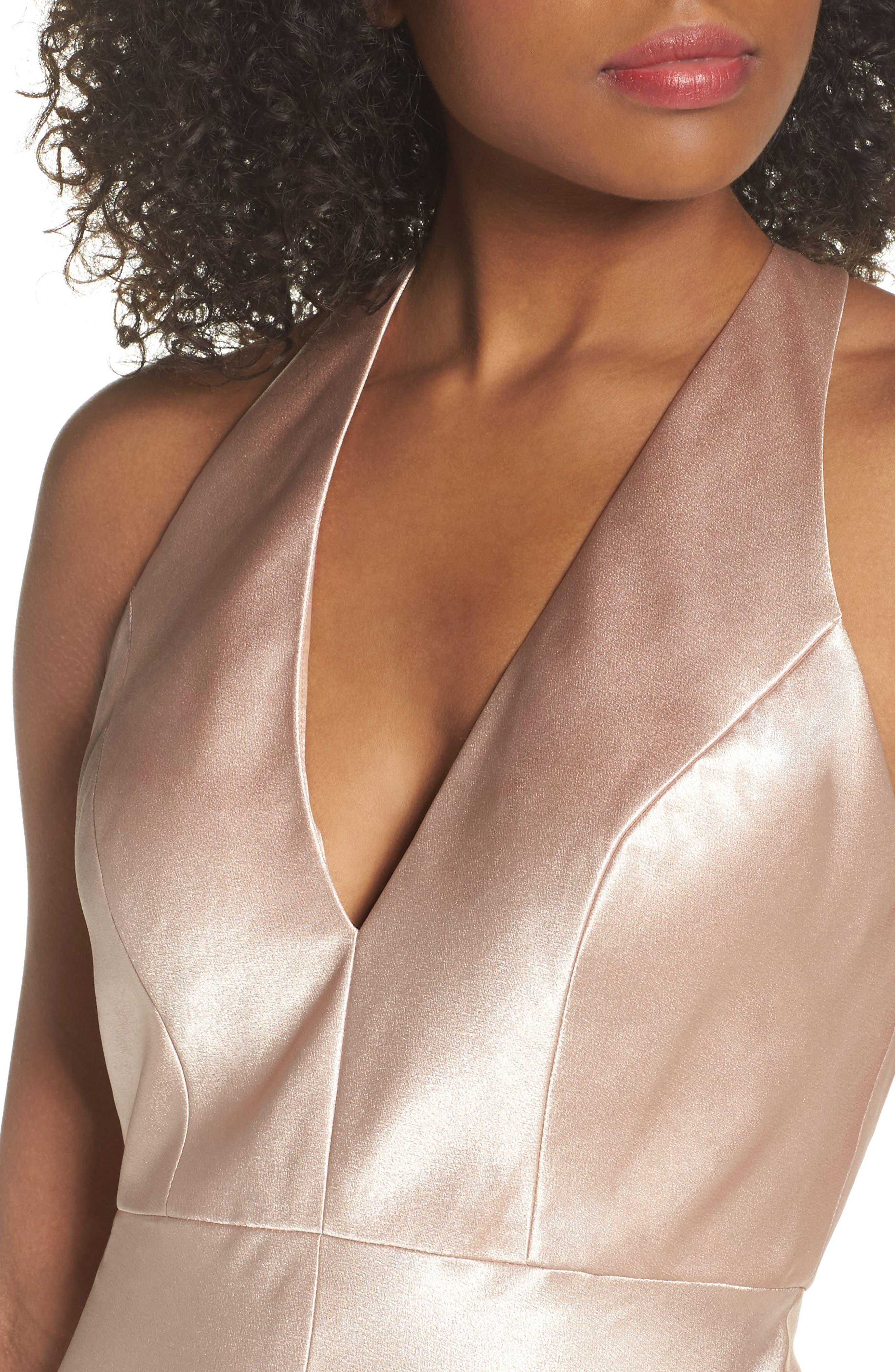 Corrine Satin Crepe Halter Gown,                             Alternate thumbnail 4, color,                             PETAL