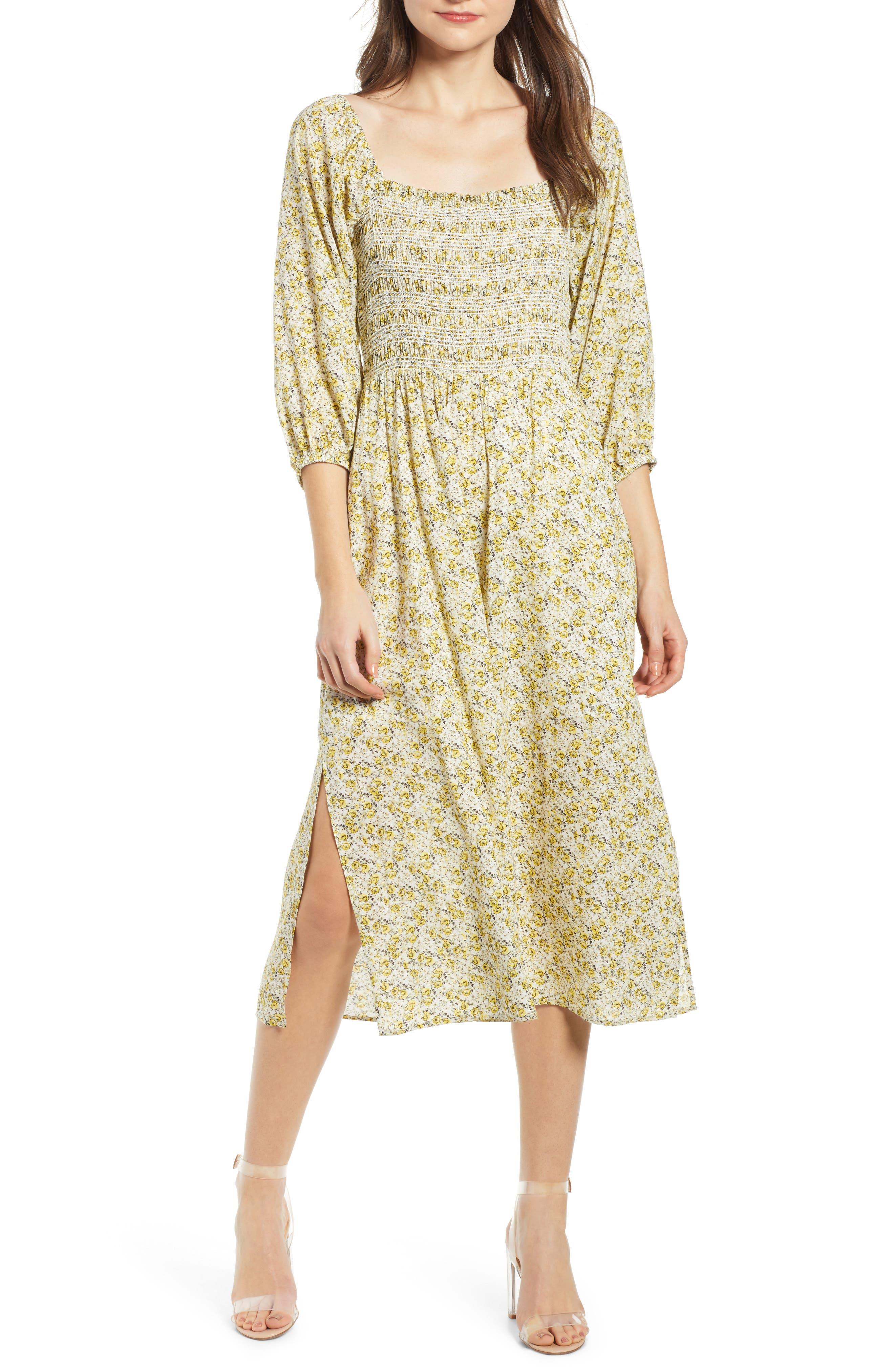 Wayf Nevaeh Smocked Midi Dress, Yellow