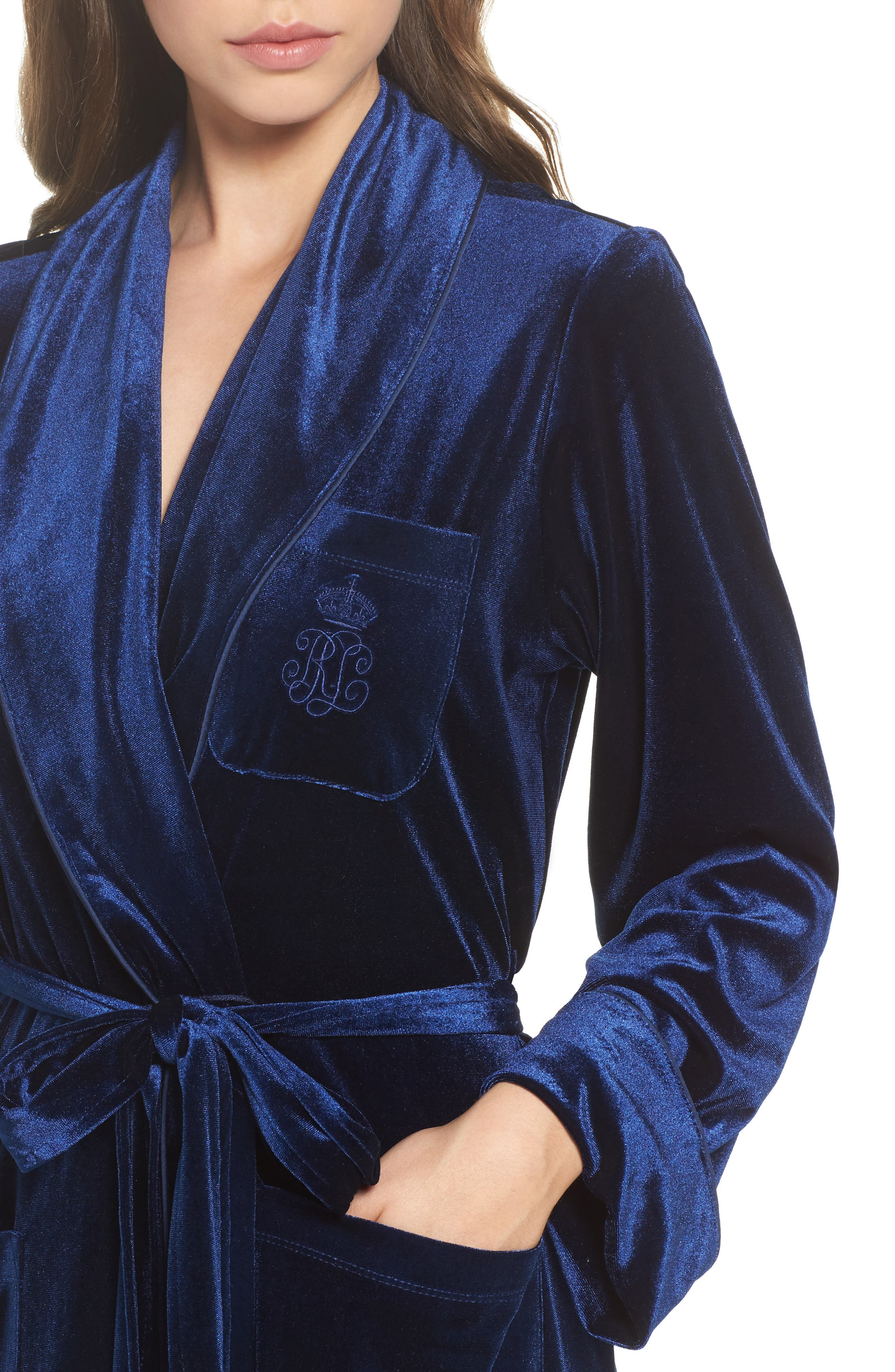 Shawl Collar Velvet Robe,                             Alternate thumbnail 4, color,