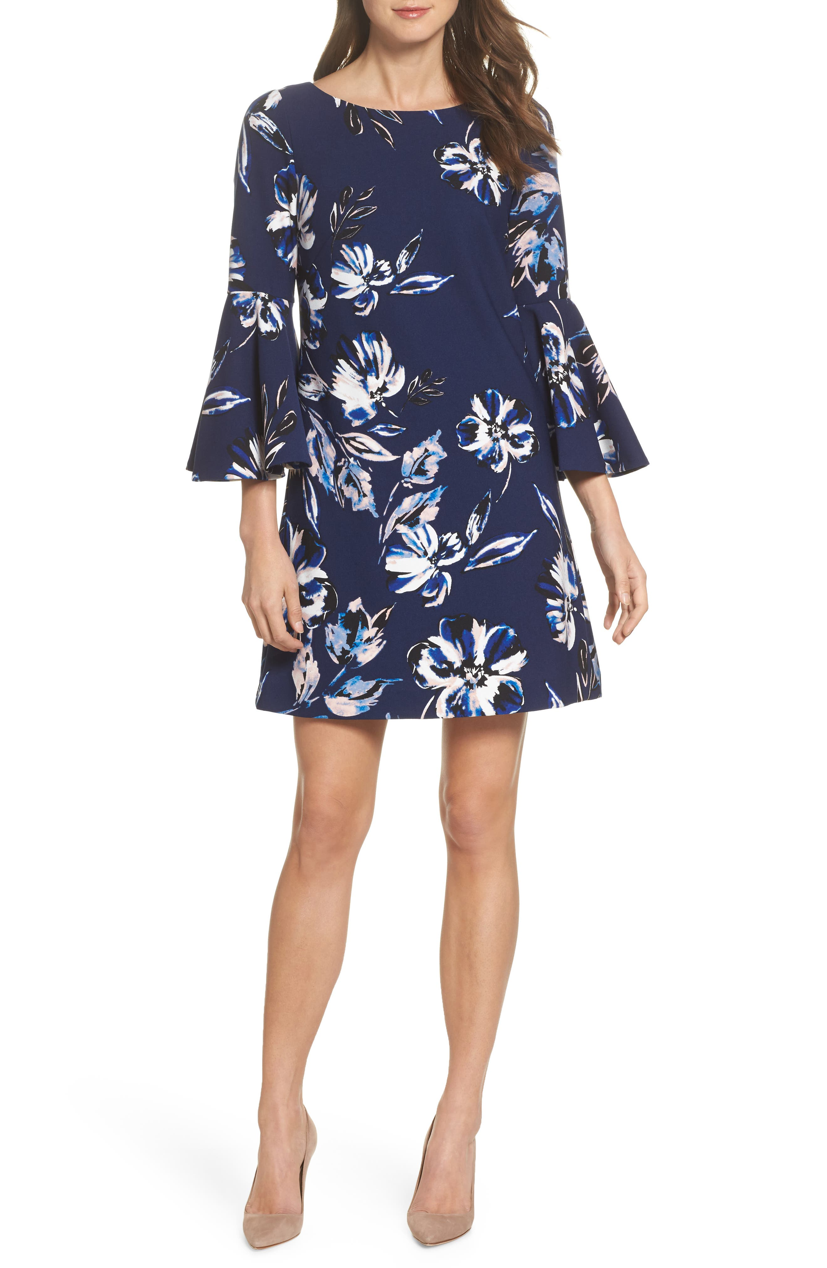 Bell Sleeve Shift Dress,                             Main thumbnail 1, color,                             410