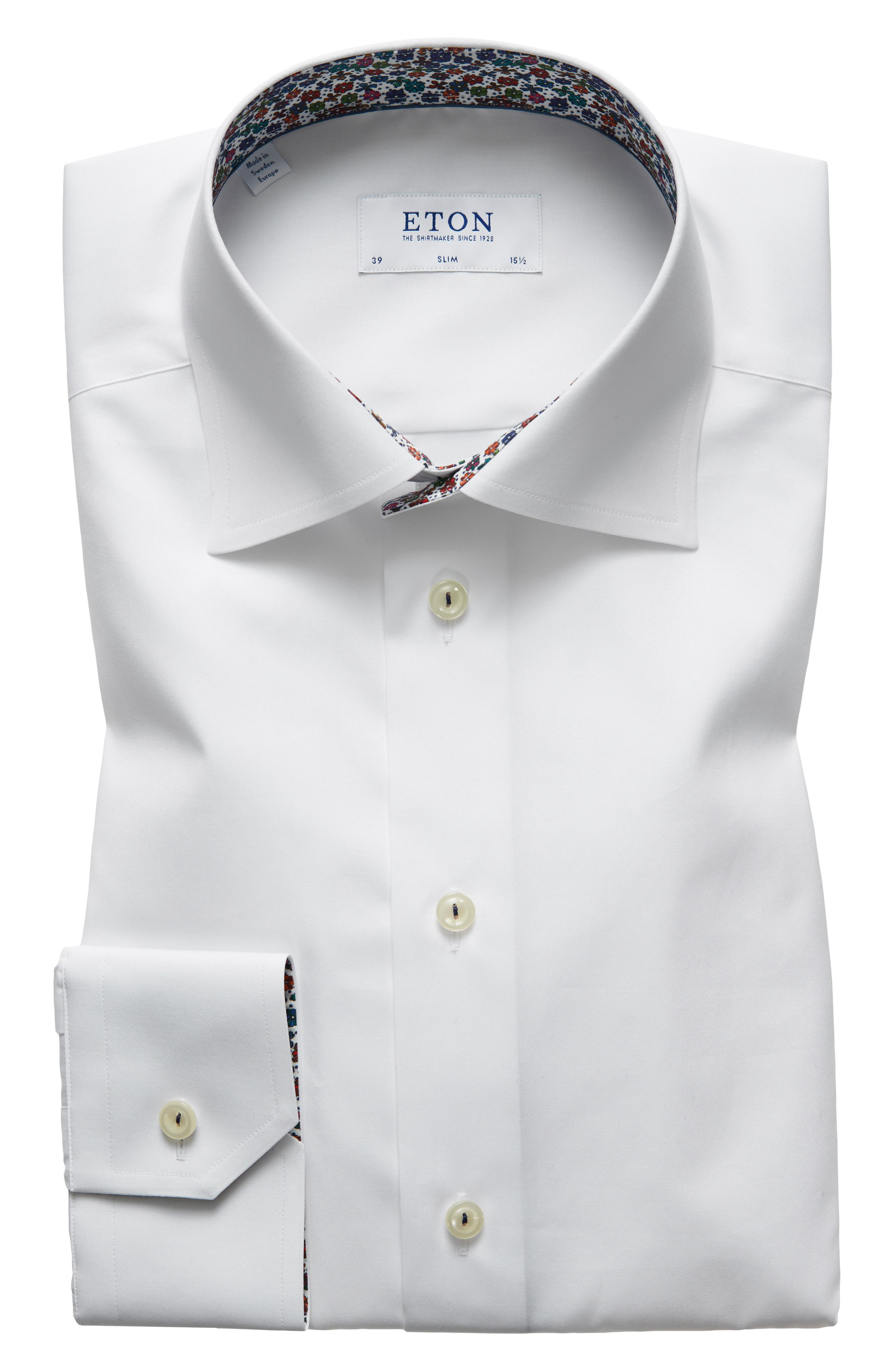 Slim Fit Solid Dress Shirt,                         Main,                         color, WHITE