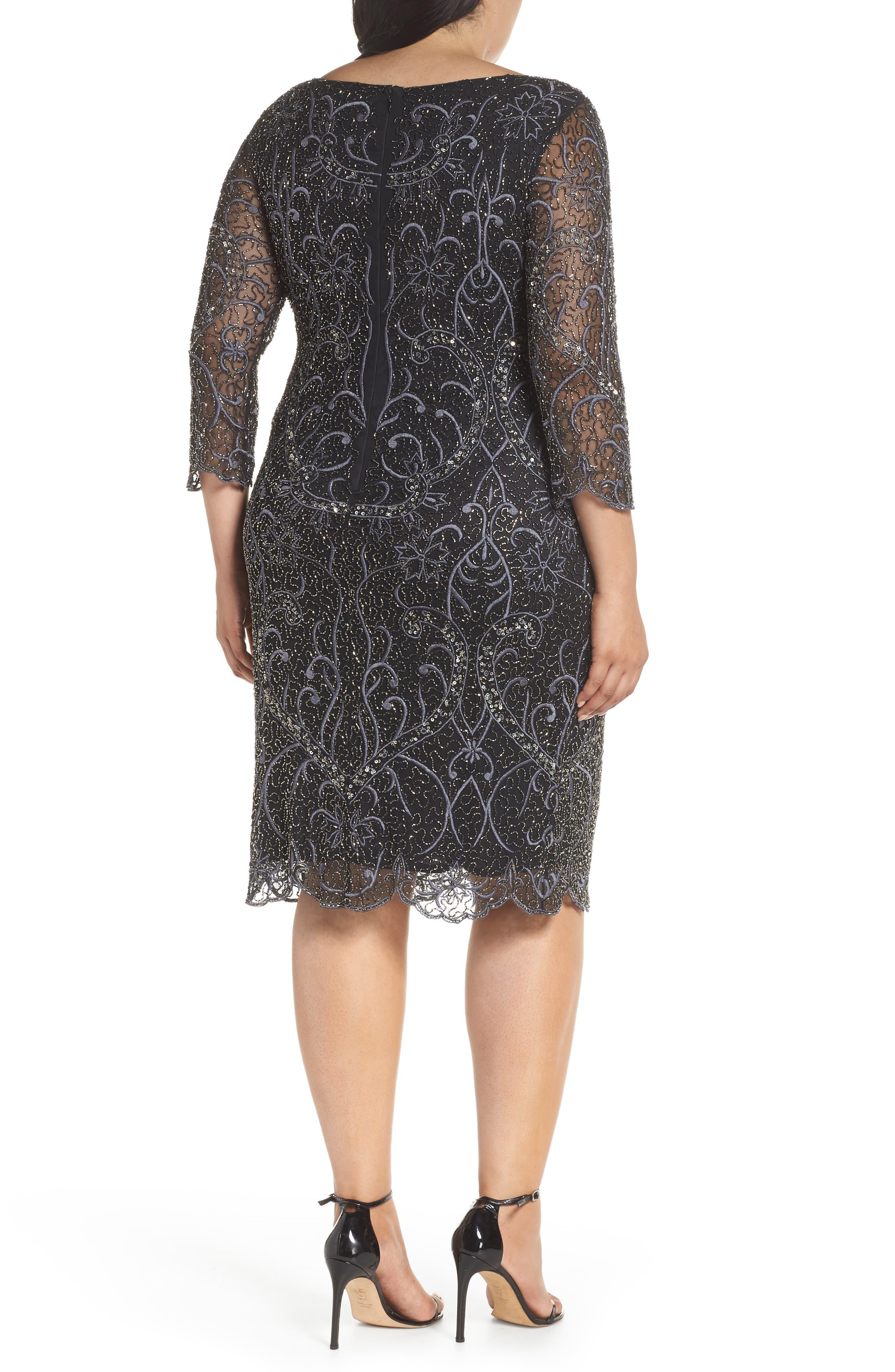 Embellished Sheath Dress,                             Alternate thumbnail 2, color,                             001