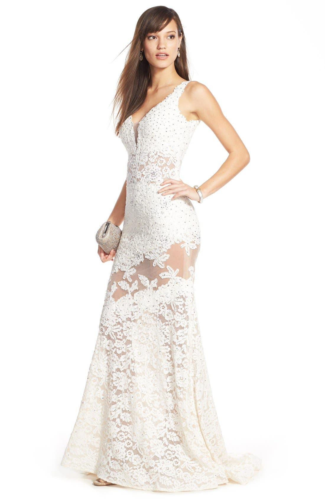 Embellished Lace Mermaid Gown,                             Alternate thumbnail 4, color,                             900