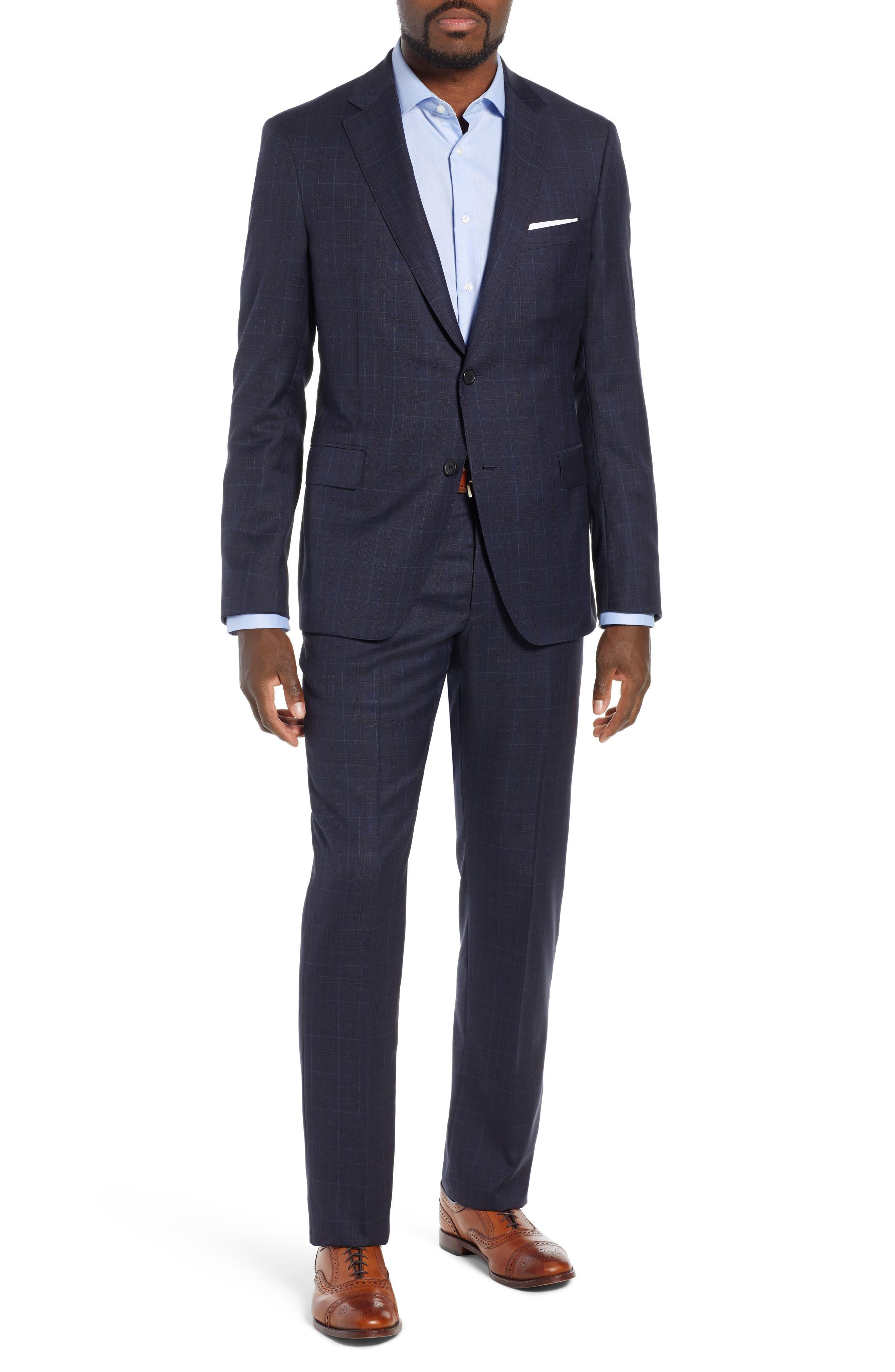 Classic Fit Plaid Wool Suit,                         Main,                         color, BLUE