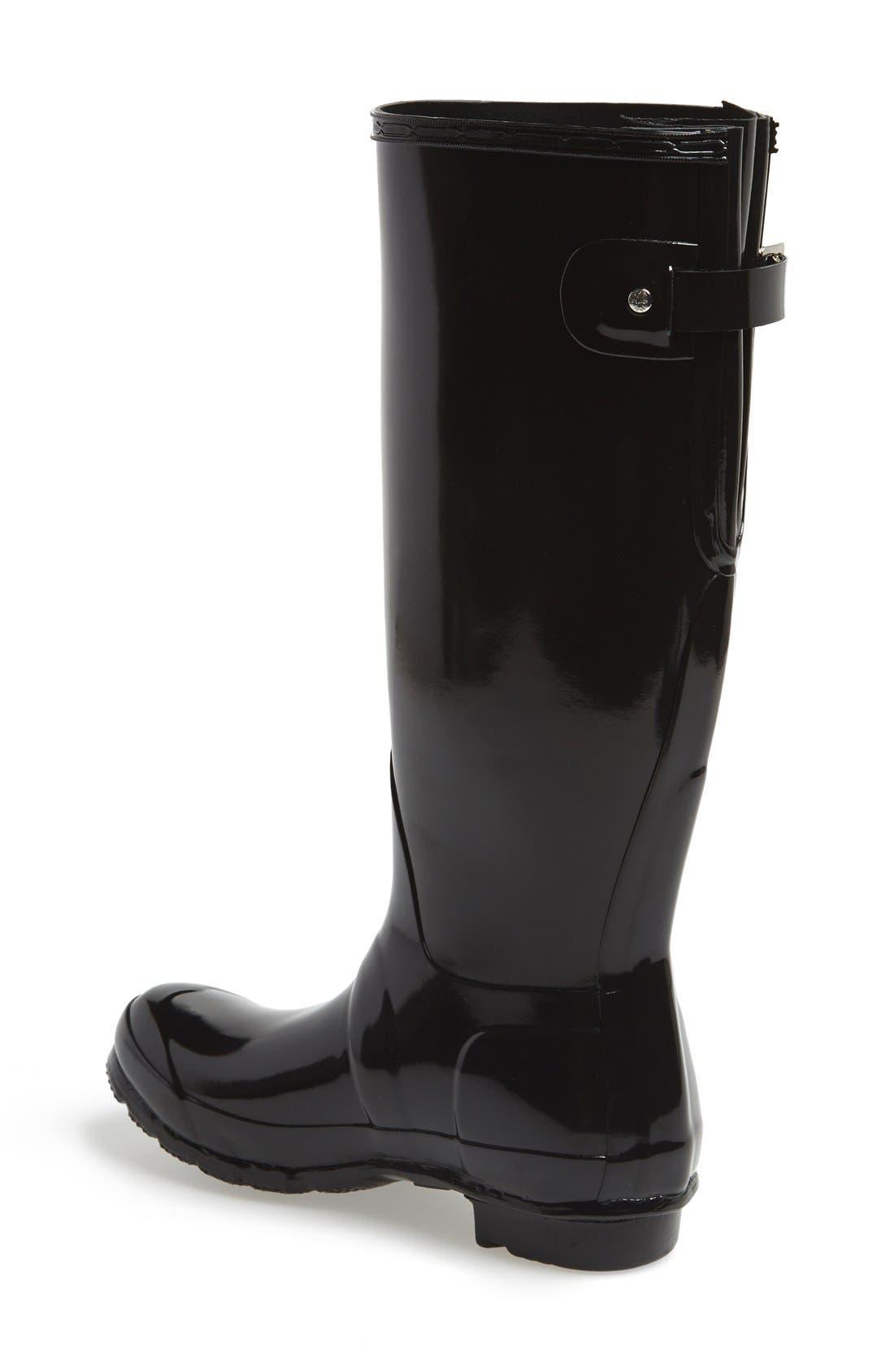 Adjustable Back Gloss Waterproof Rain Boot,                             Alternate thumbnail 2, color,                             BLACK