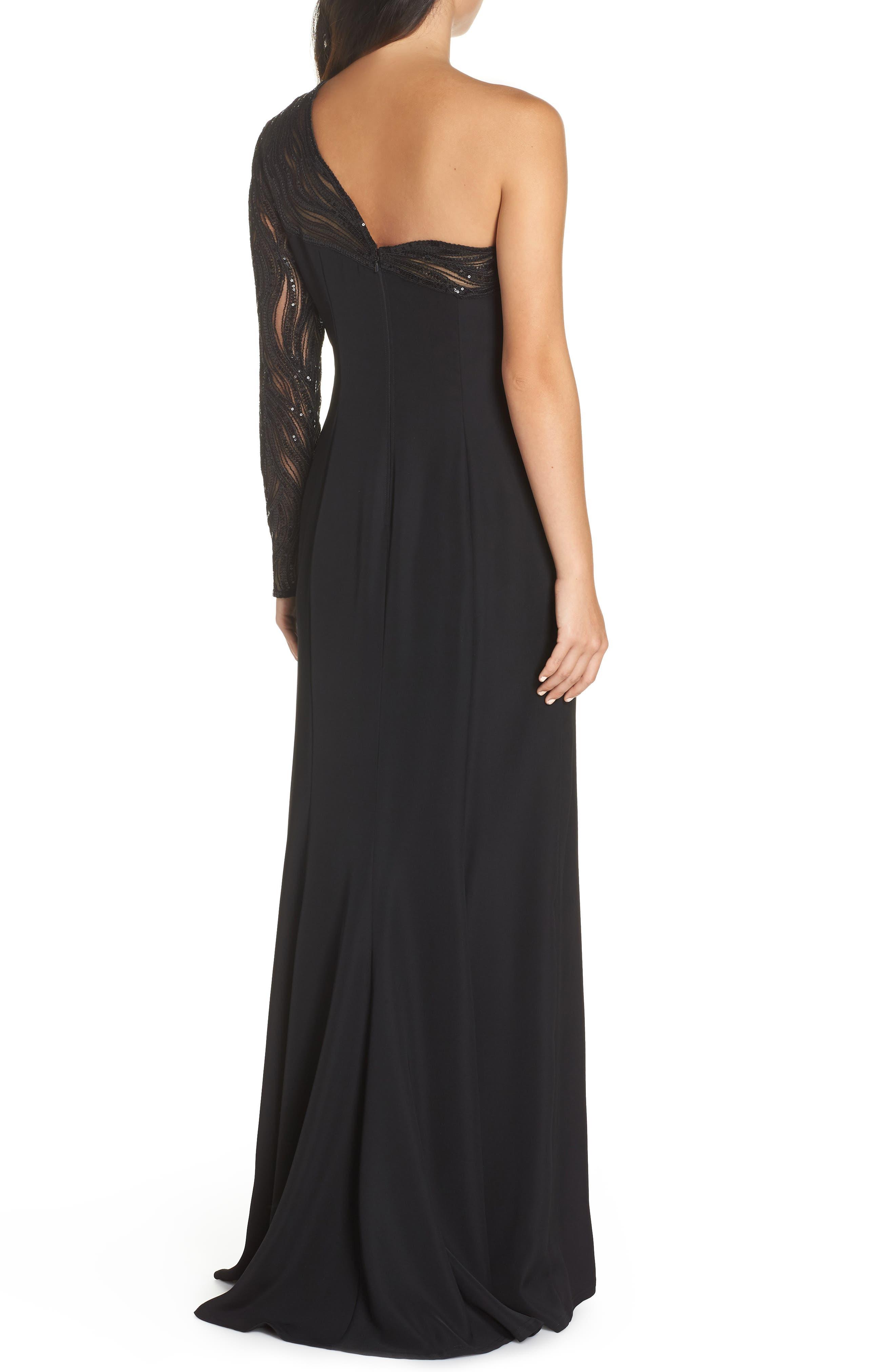 One-Shoulder Crepe Gown,                             Alternate thumbnail 2, color,                             BLACK/ NUDE