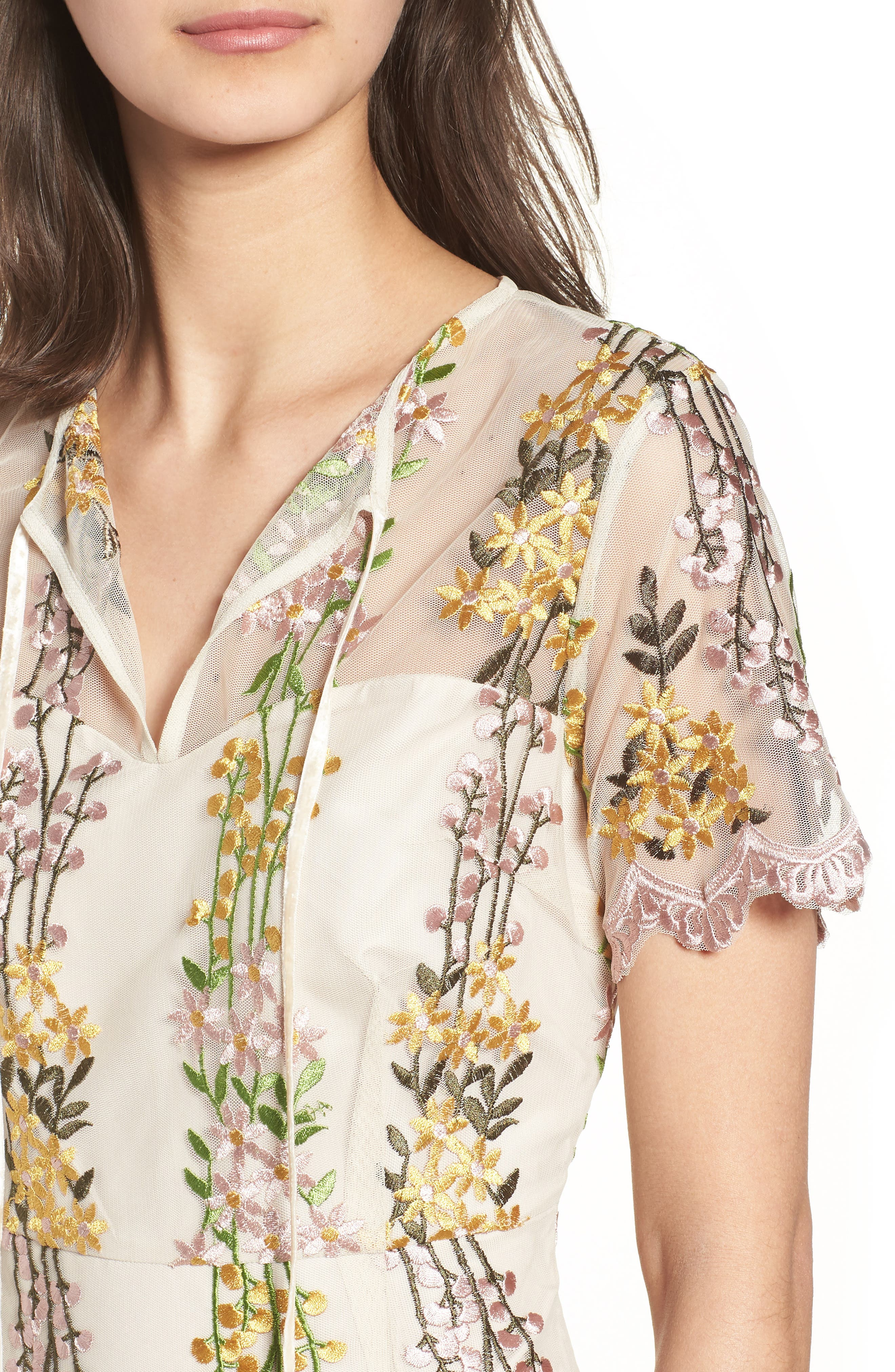 Gram Embroidered Minidress,                             Alternate thumbnail 4, color,                             SOFT BEIGE