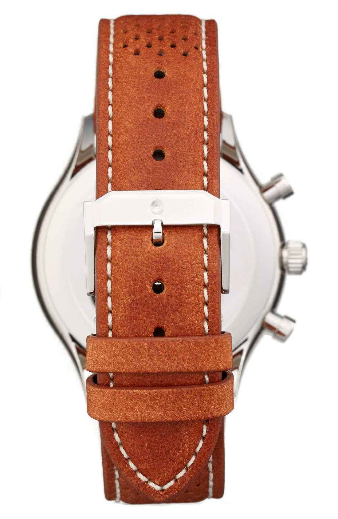 MOVADO,                             'Heritage' Chronograph Leather Strap Watch, 43mm,                             Alternate thumbnail 2, color,                             100