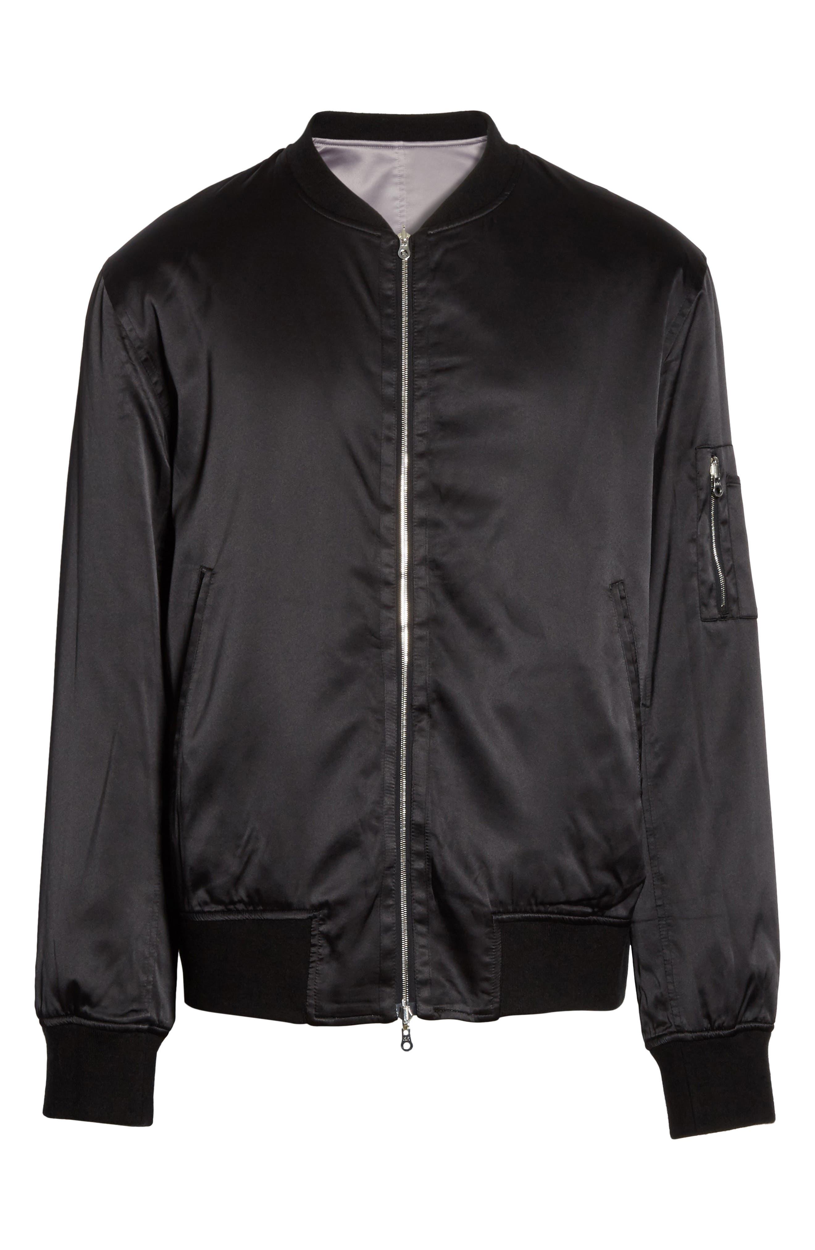 Reversible Zip Front Bomber Jacket,                             Alternate thumbnail 5, color,                             009