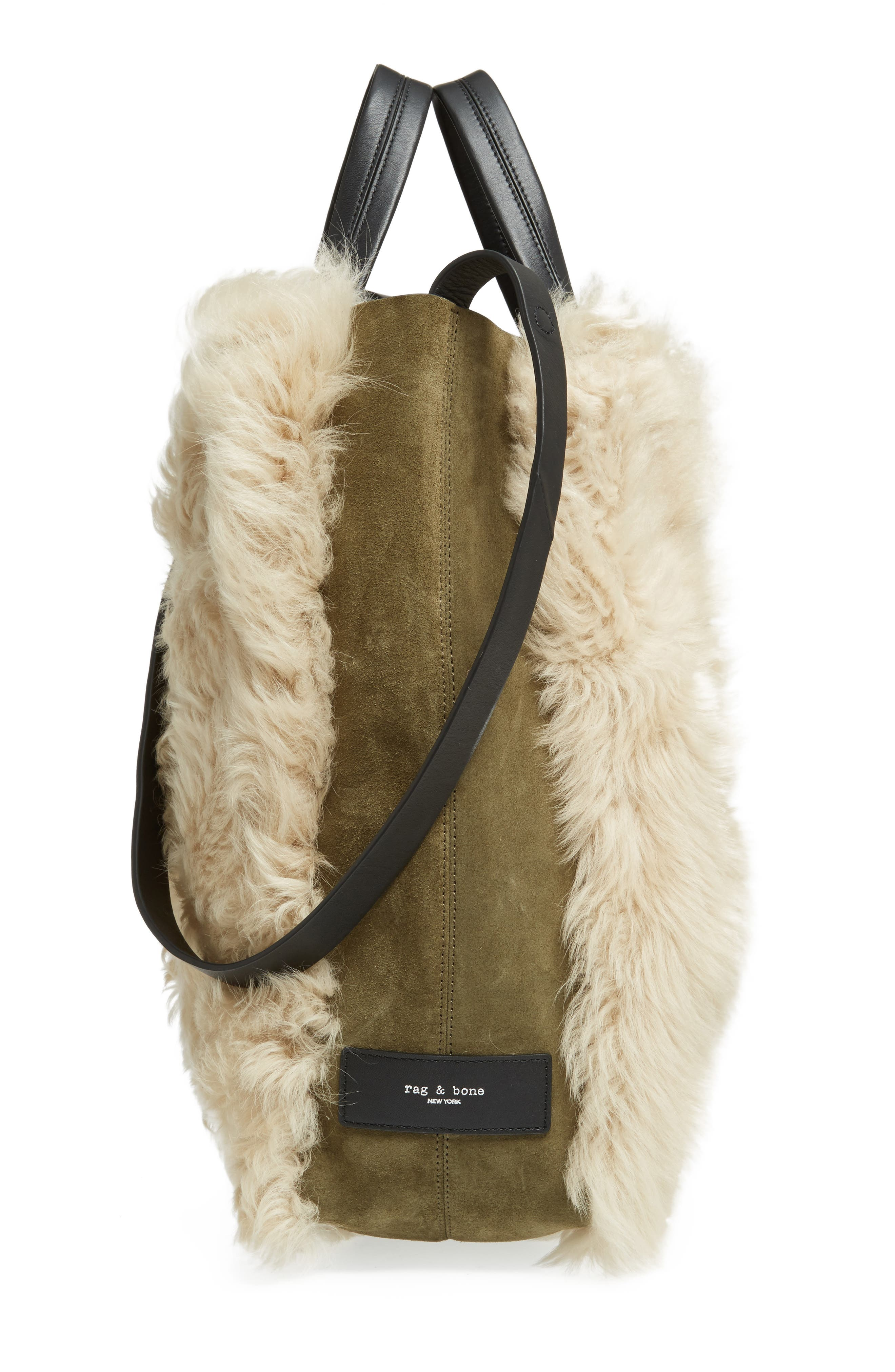 Walker Convertible Genuine Shearling & Suede Tote,                             Alternate thumbnail 5, color,                             900