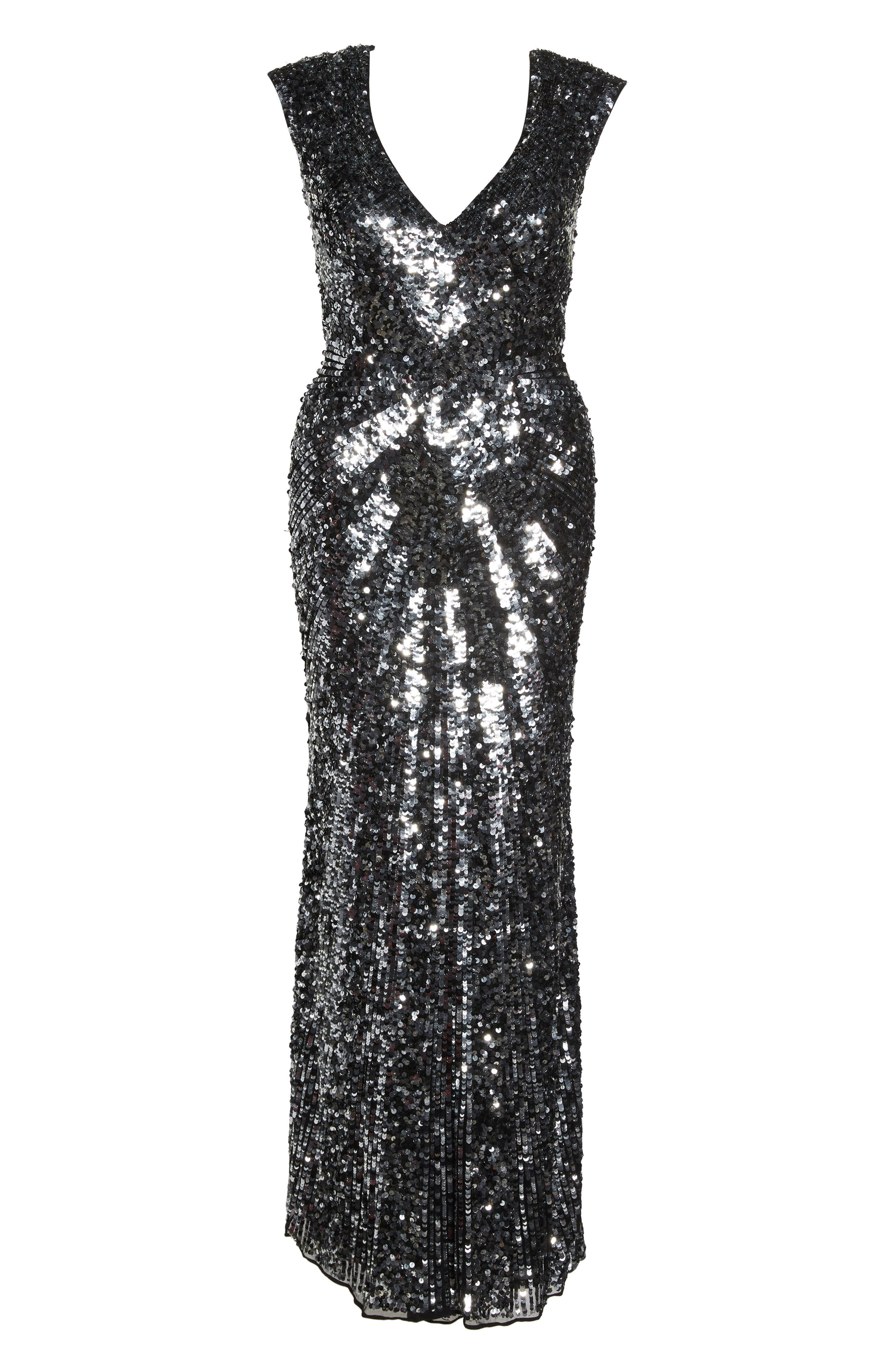 MAC DUGGAL,                             Sequin Plunging V-Neck Gown,                             Alternate thumbnail 7, color,                             001