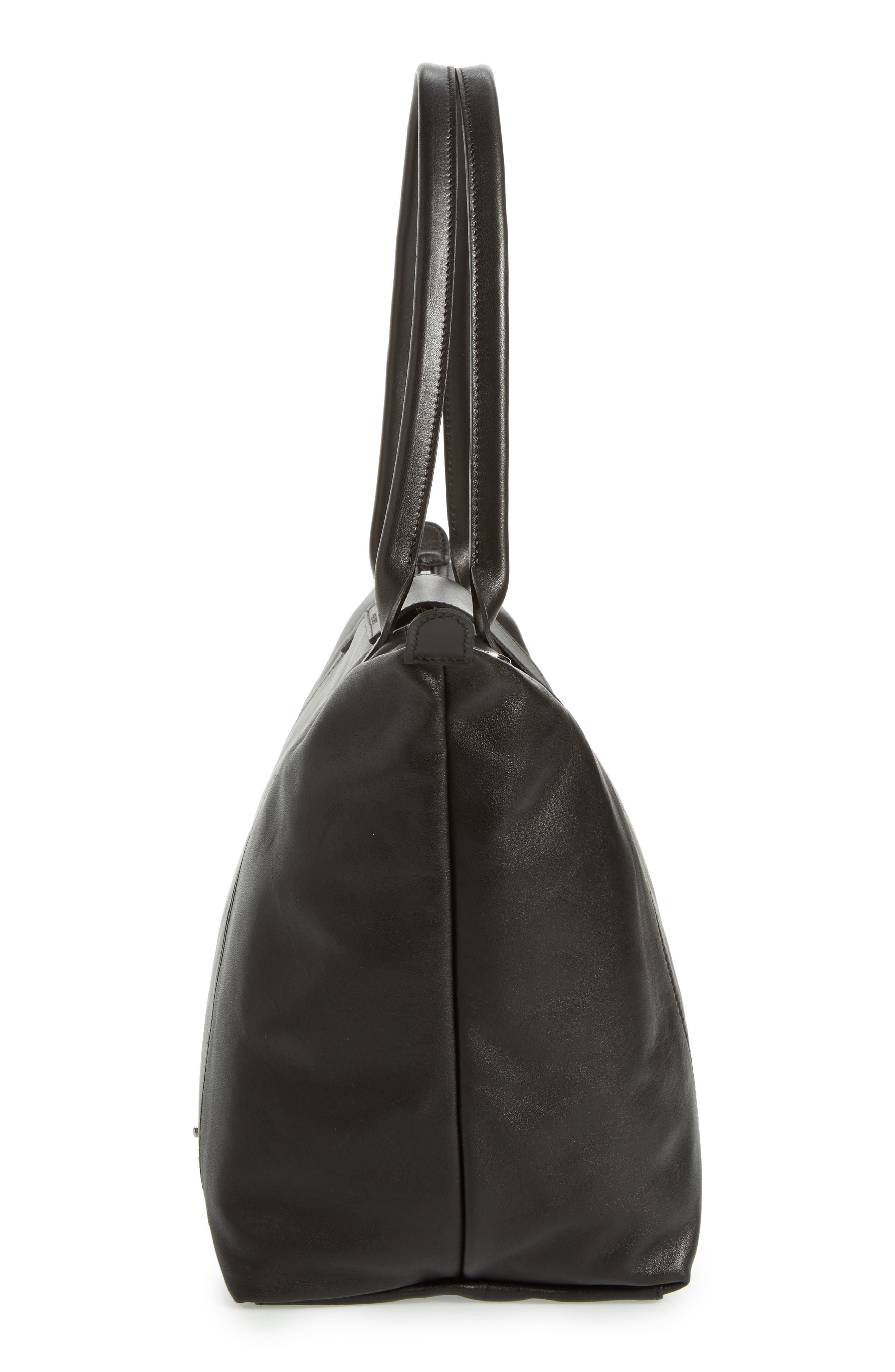 Le Pliage Cuir Leather Tote,                             Alternate thumbnail 6, color,                             BLACK