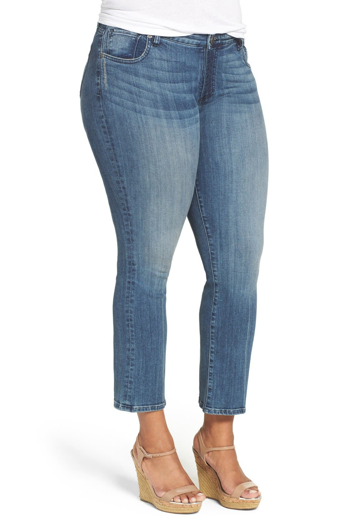 'Reese' Crop Flare Leg Jeans,                             Alternate thumbnail 4, color,                             PERFECTION