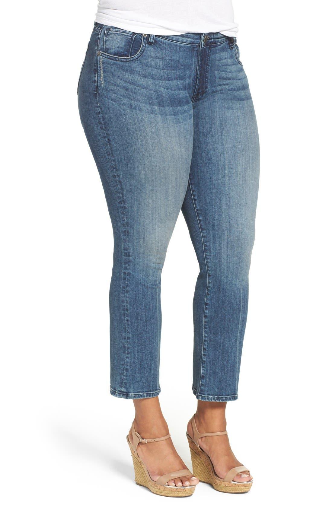 'Reese' Crop Flare Leg Jeans,                             Alternate thumbnail 4, color,                             453