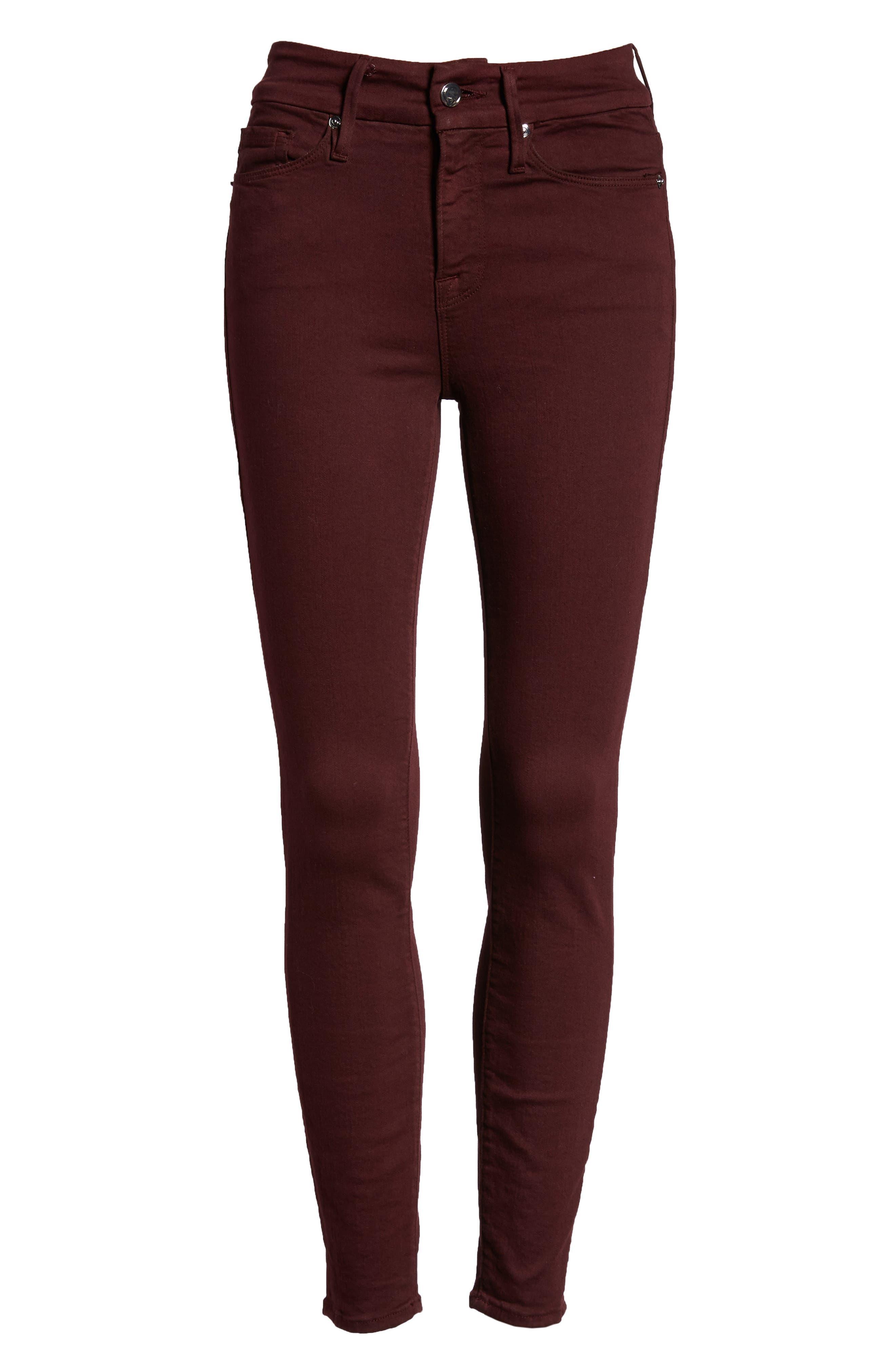 Good Legs High Waist Ankle Skinny Jeans,                             Alternate thumbnail 8, color,                             BURGUNDY 001