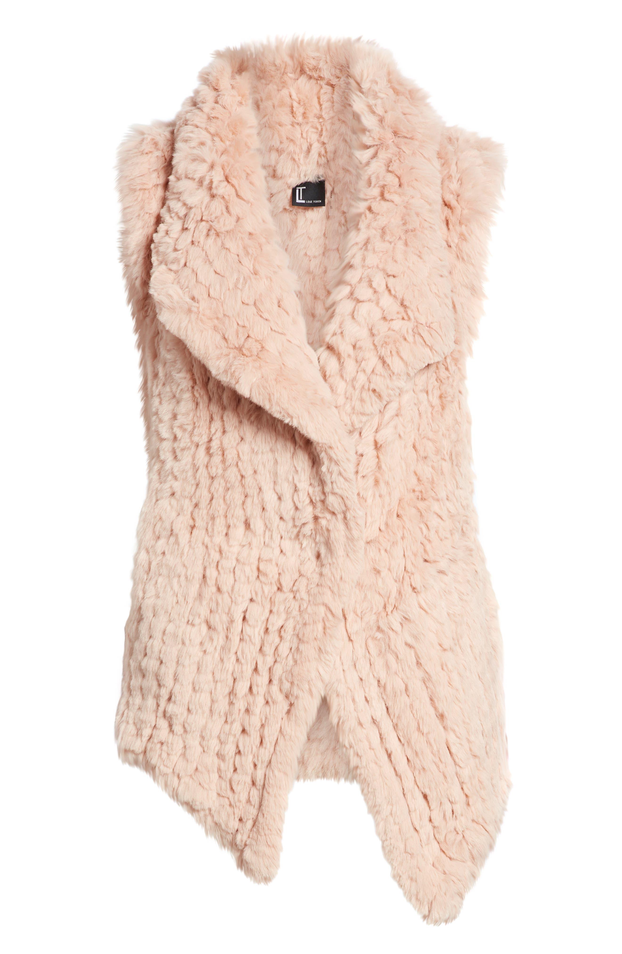 Faux Fur Vest,                             Alternate thumbnail 6, color,                             PINK