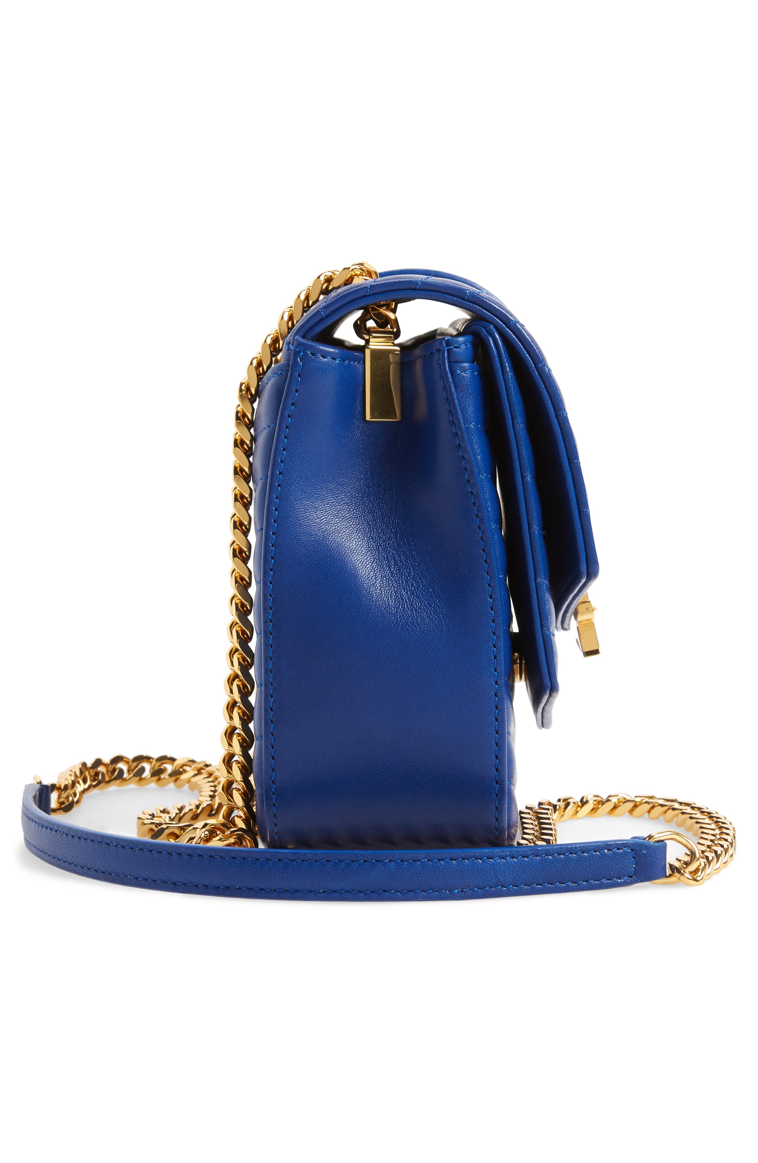 Montaigne Quilted Lambskin Crossbody Bag,                             Alternate thumbnail 5, color,                             BRIGHT BLUE