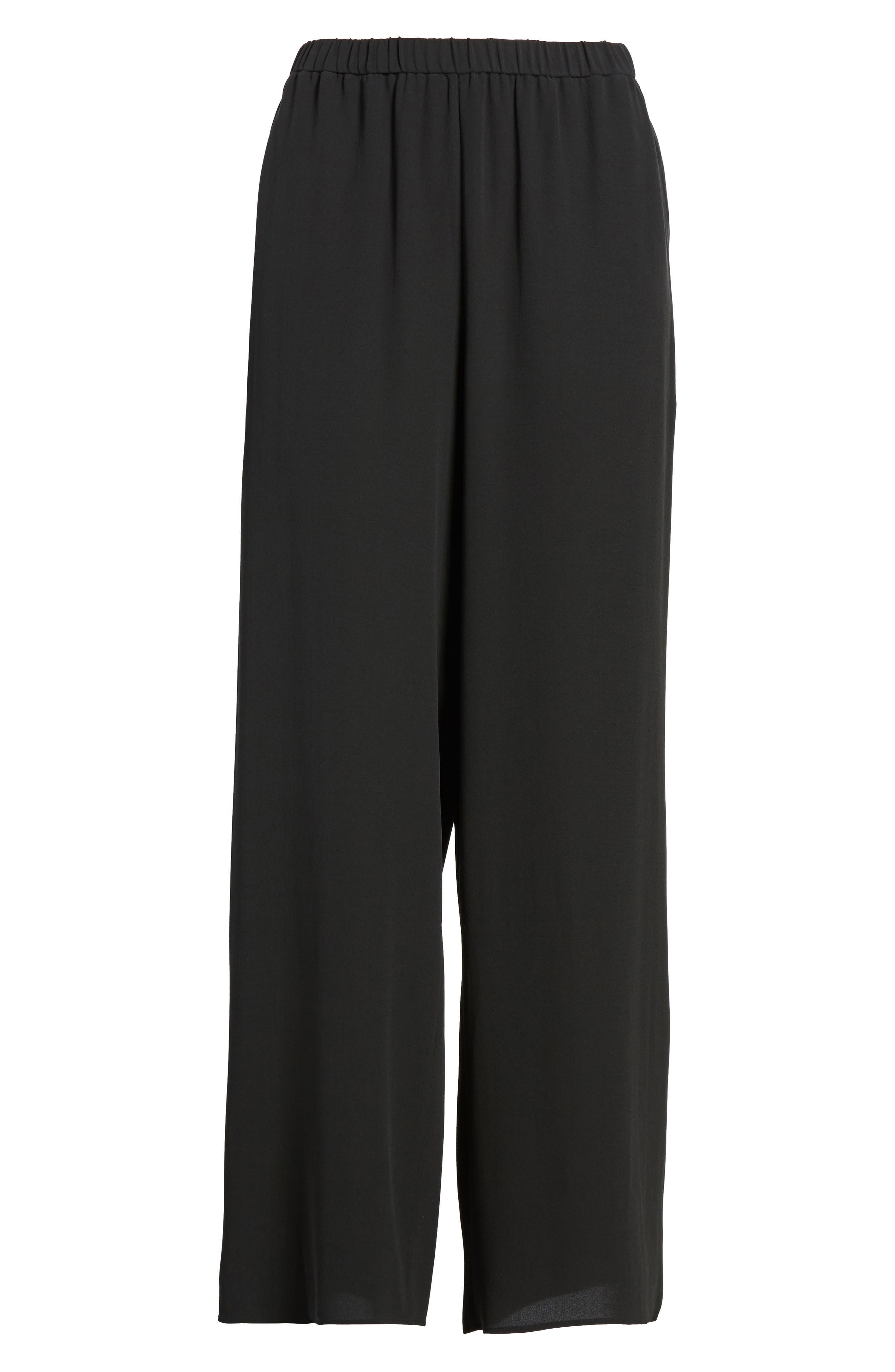 Wide Leg Silk Pants,                             Alternate thumbnail 6, color,                             001