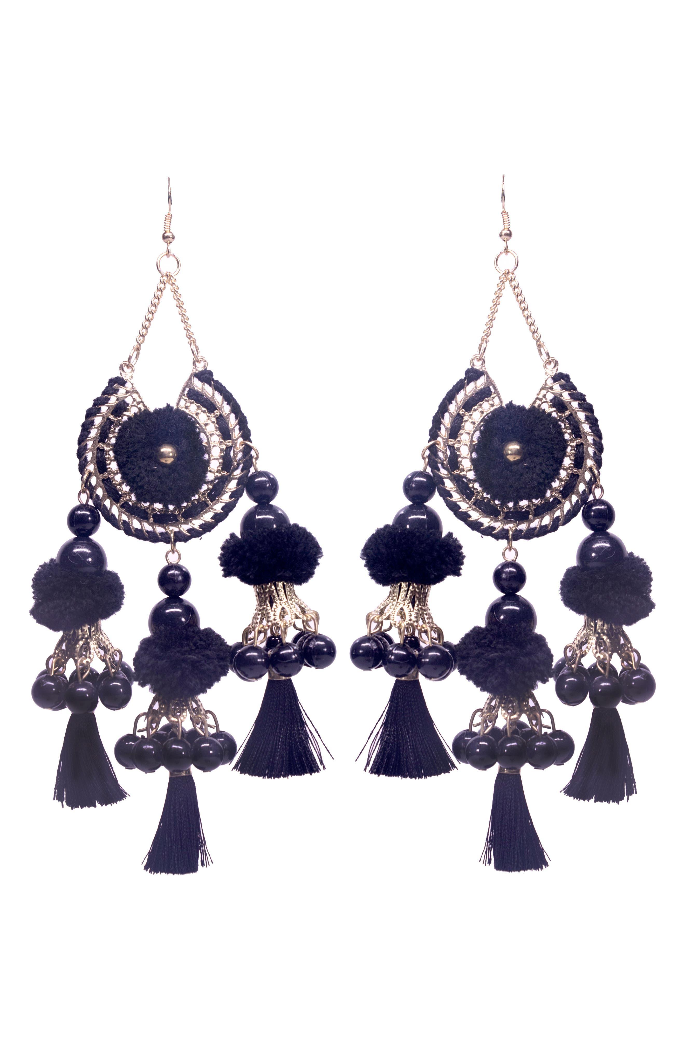 Reena Ball Tassel Earrings,                         Main,                         color, 001