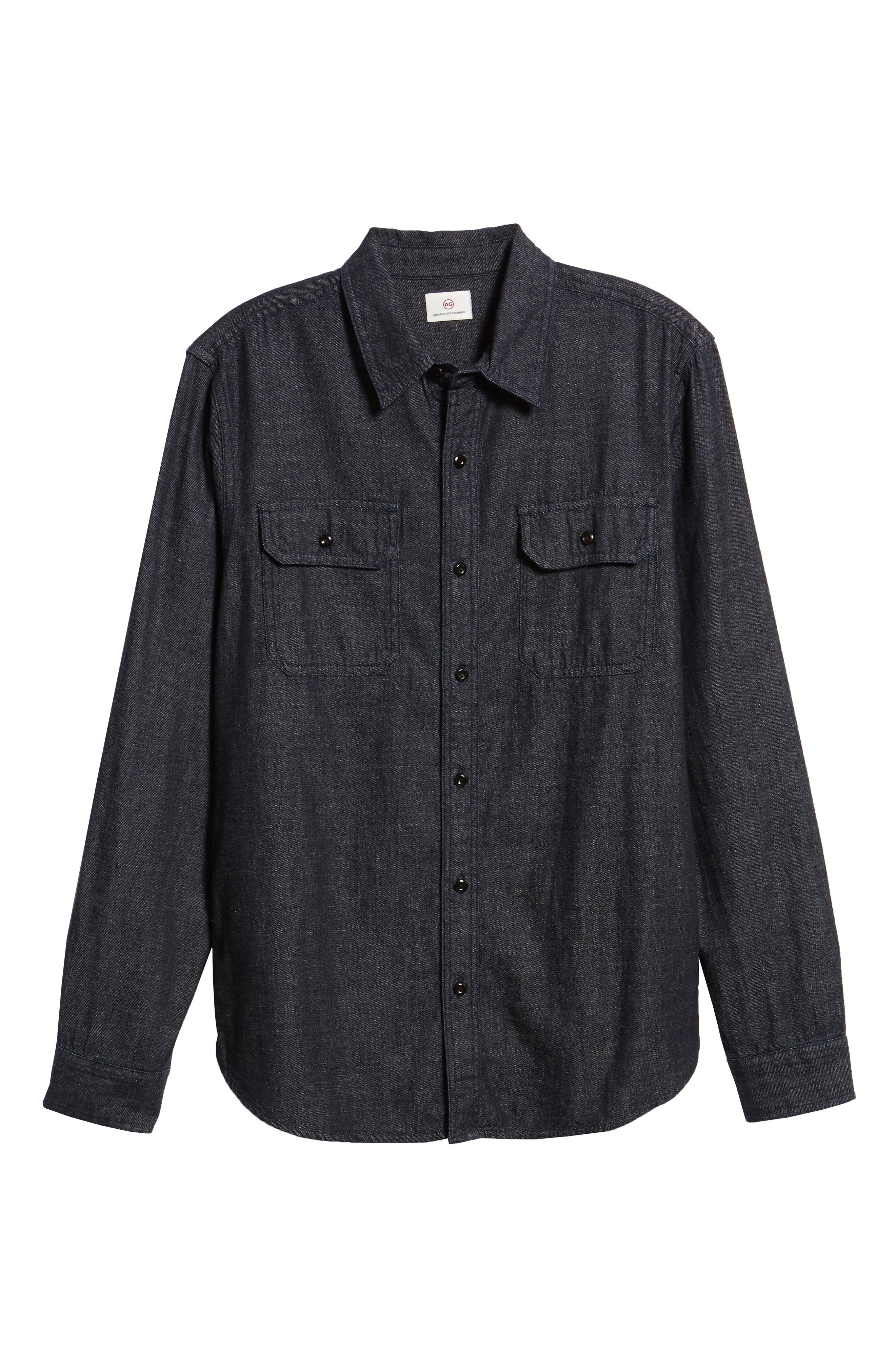 Benning Chambray Slim Fit Utility Shirt,                             Alternate thumbnail 5, color,                             020