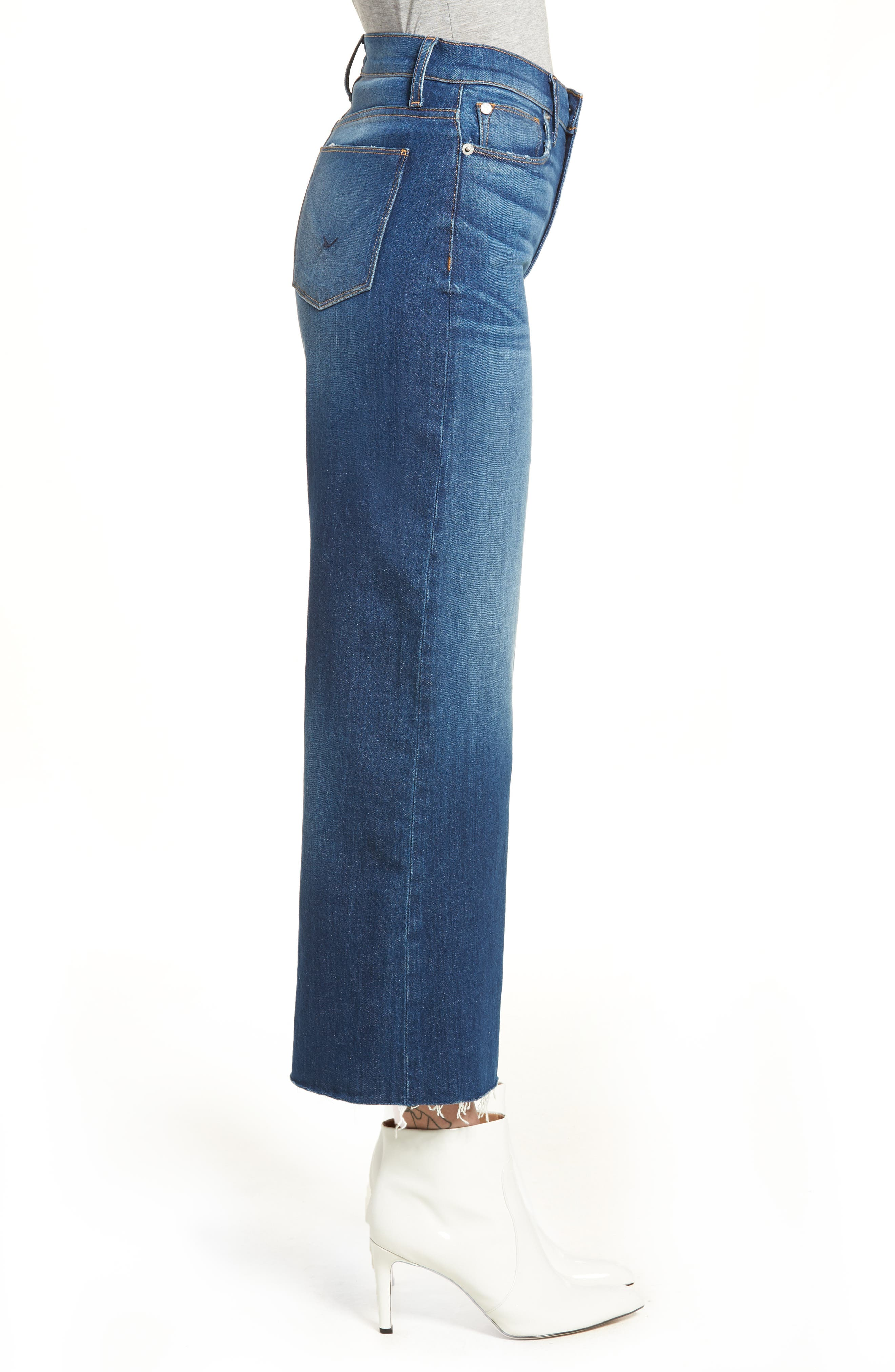 Holly High Waist Raw Hem Crop Wide Leg Jeans,                             Alternate thumbnail 3, color,                             OWN IT