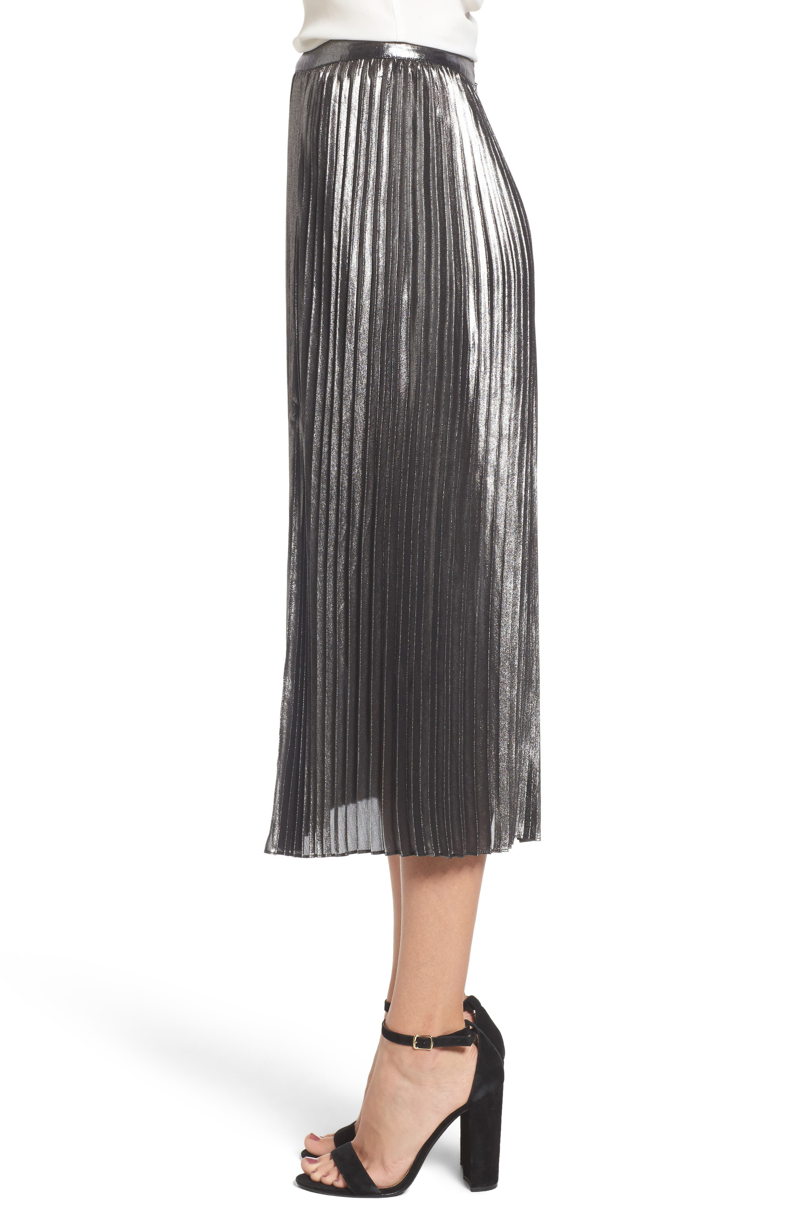 Metallic Pleated Skirt,                             Alternate thumbnail 3, color,                             040