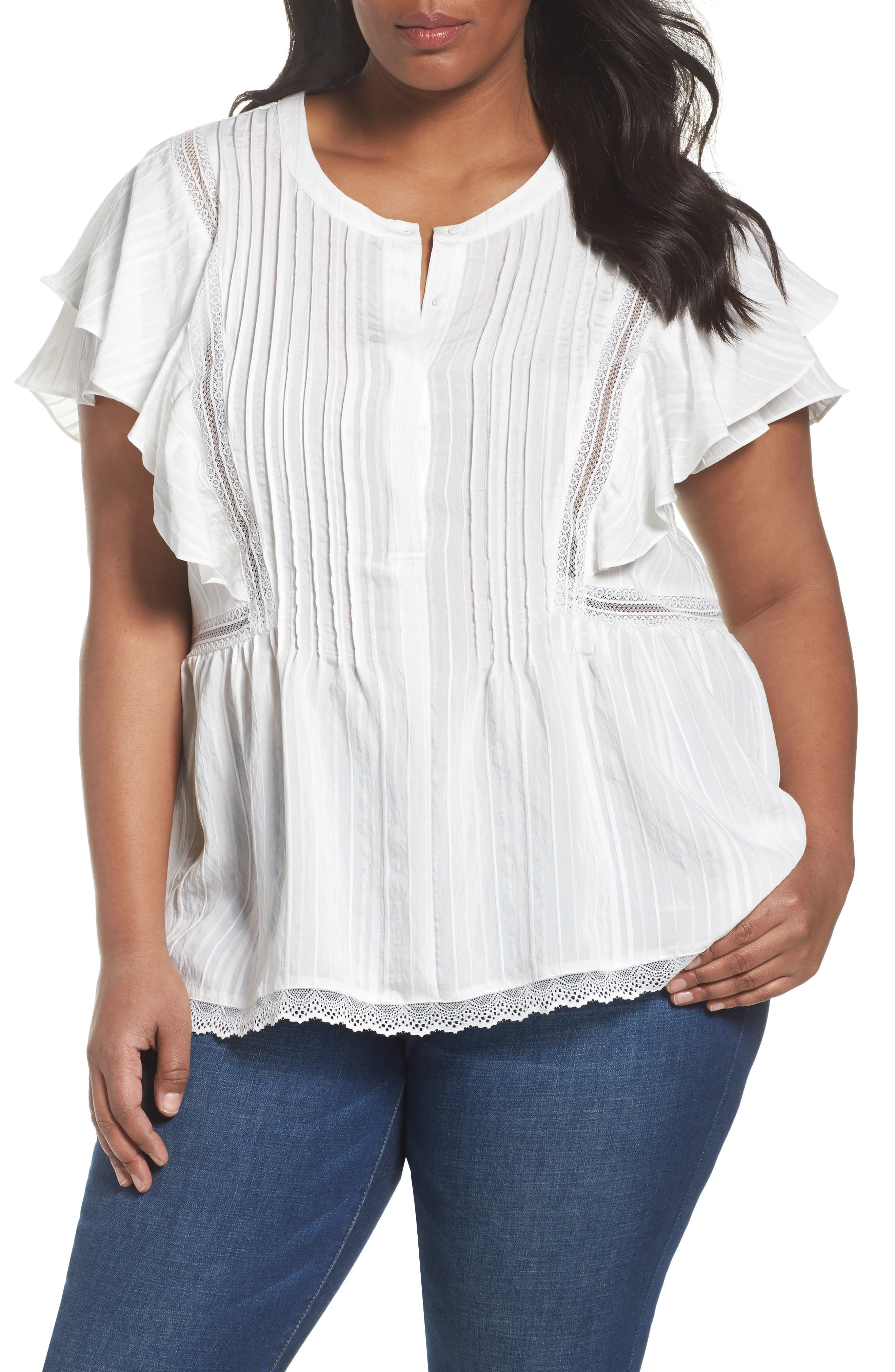 Lace Trim Pintuck Pleated Top,                             Main thumbnail 3, color,