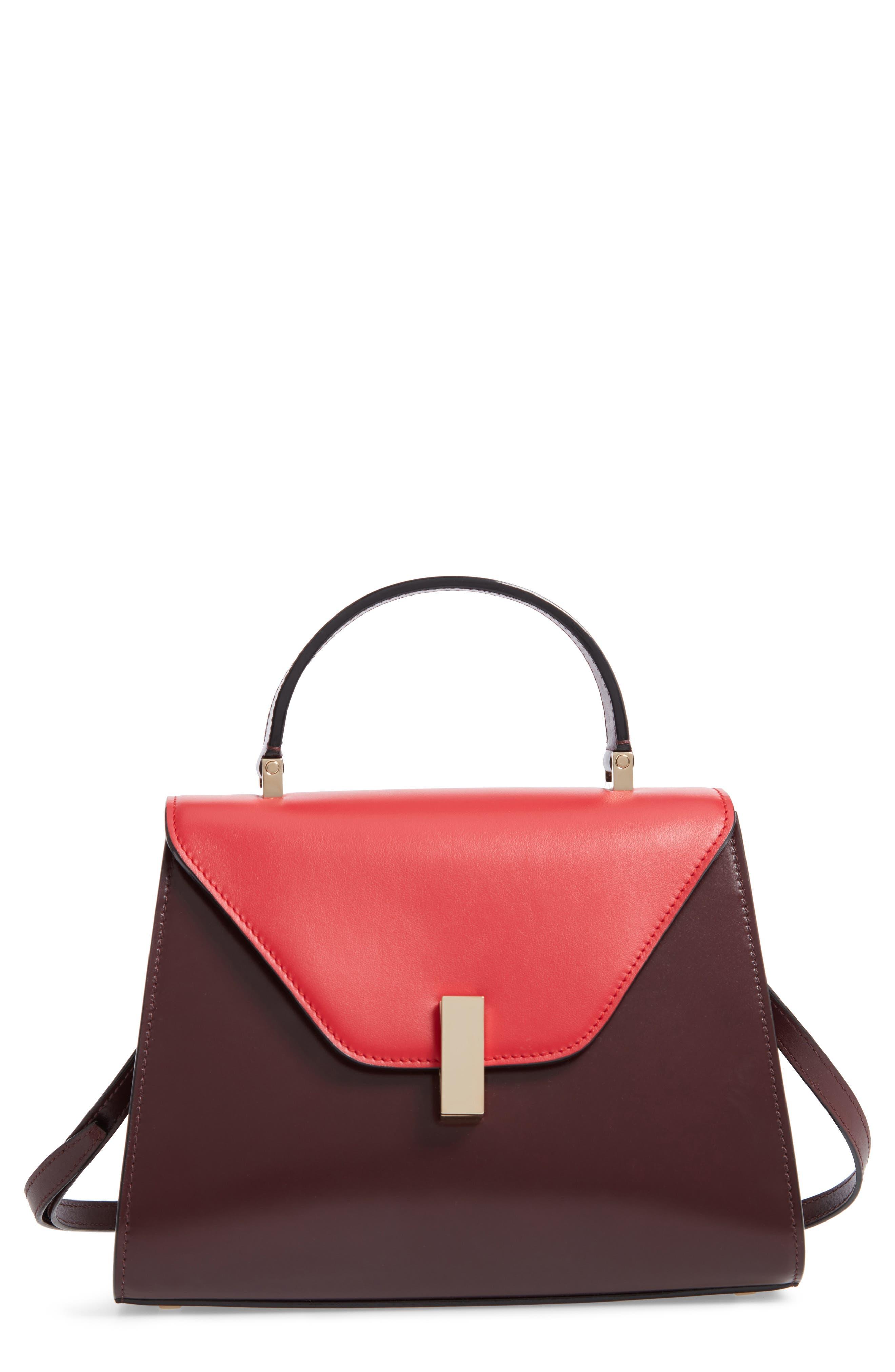 Iside Medium Colorblock Leather Top Handle Bag,                             Main thumbnail 1, color,                             FRAGOLA/ GRANATA