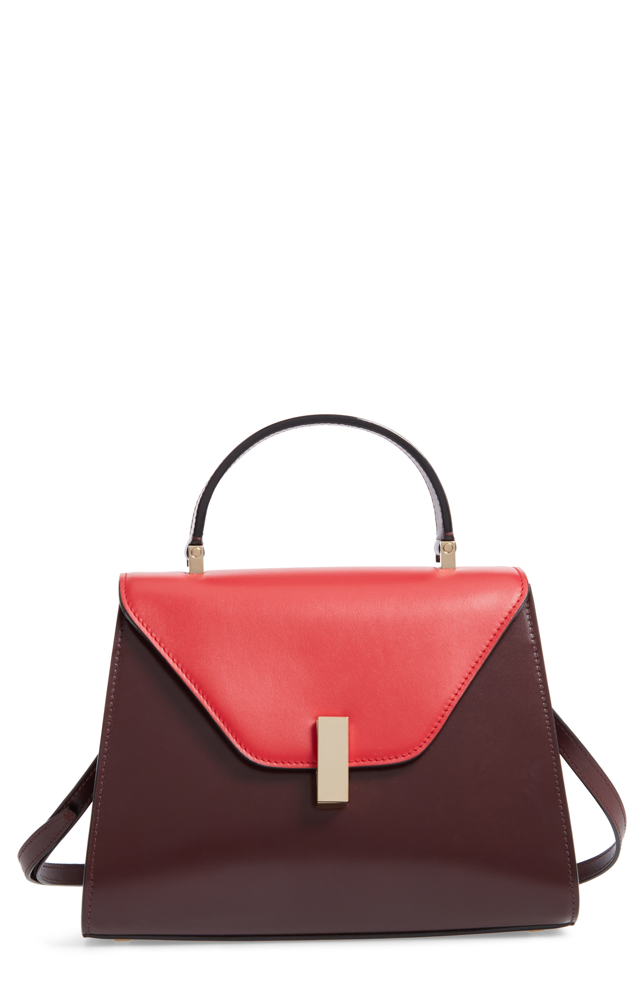 Iside Medium Colorblock Leather Top Handle Bag,                         Main,                         color, FRAGOLA/ GRANATA