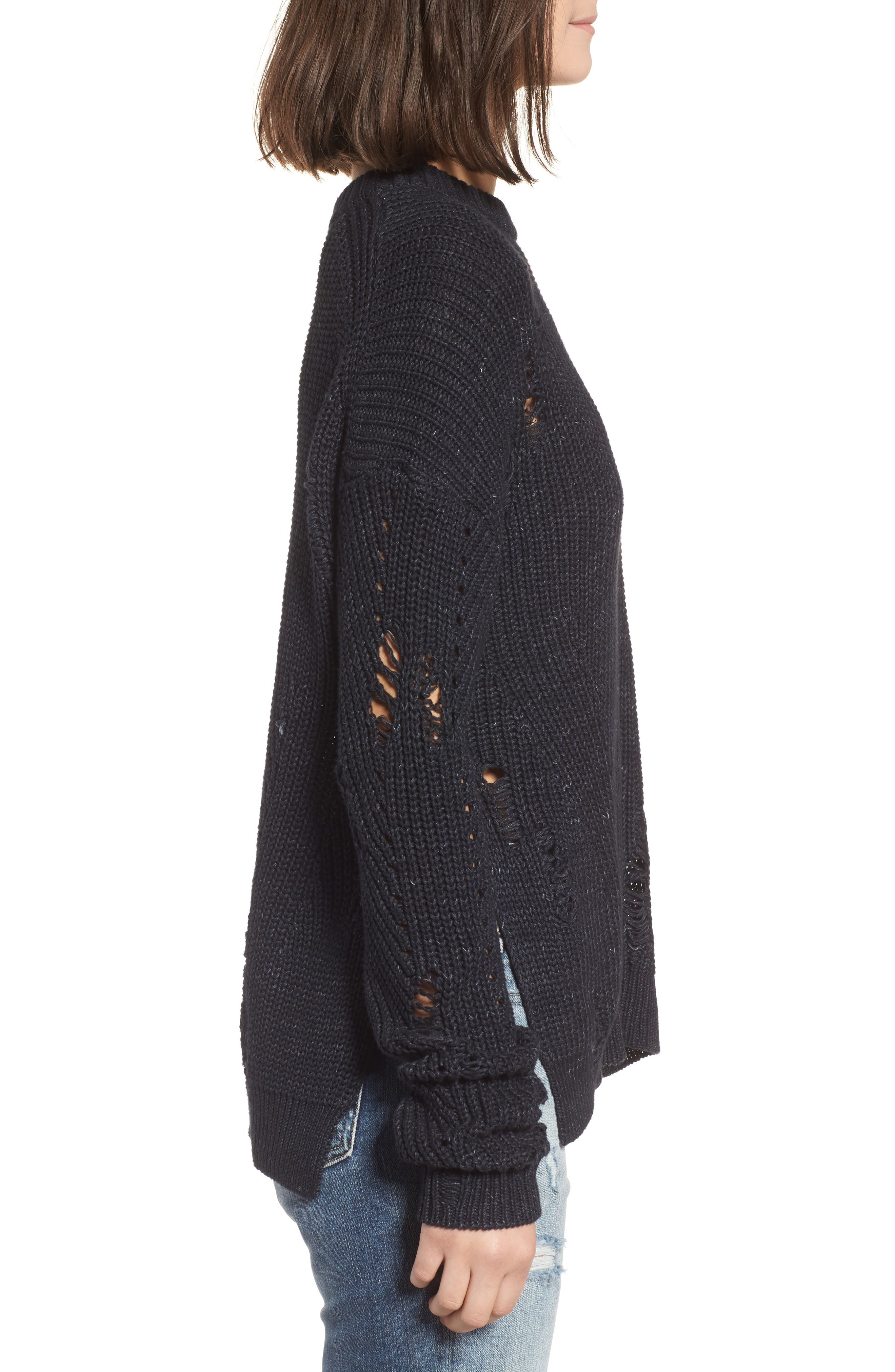Finn Distressed Sweater,                             Alternate thumbnail 3, color,                             SPECKLED MIDNIGHT SKY