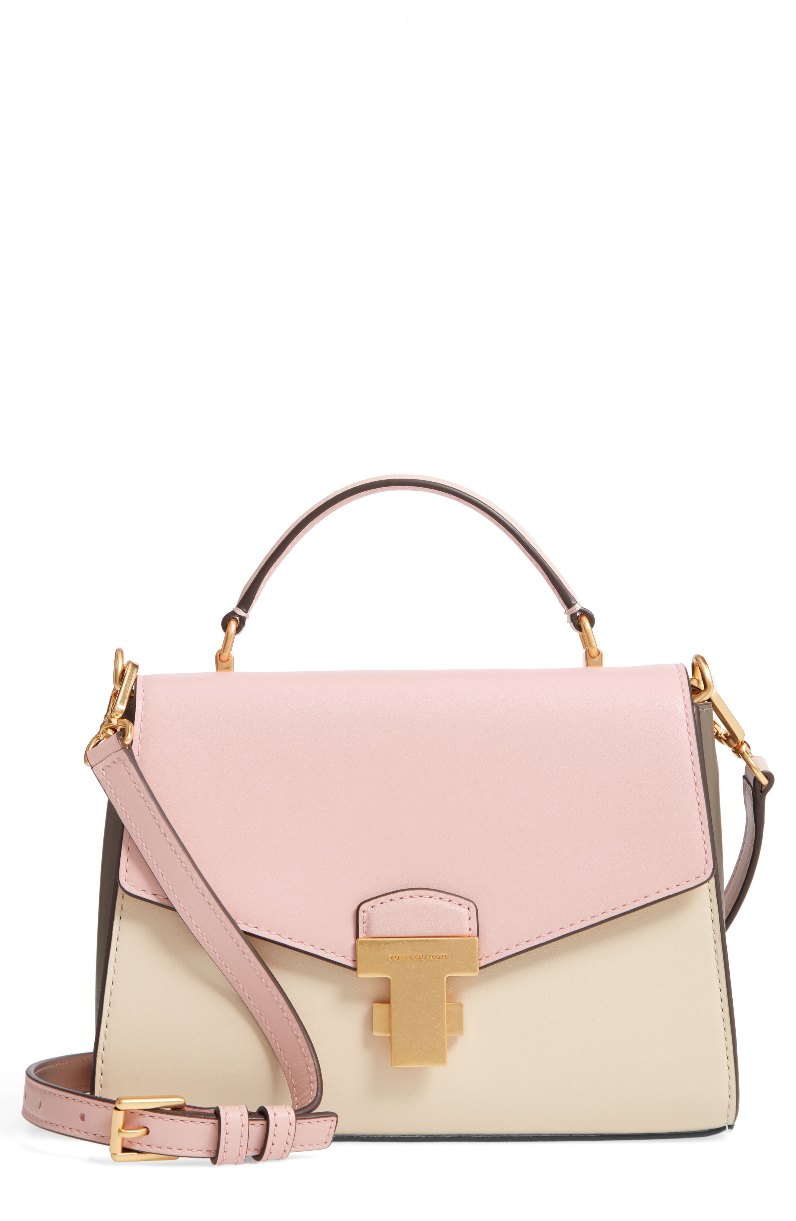 TORY BURCH,                             Small Juliette Colorblock Leather Satchel,                             Main thumbnail 1, color,                             SHELL PINK/ CREAM/ MUSHROOM