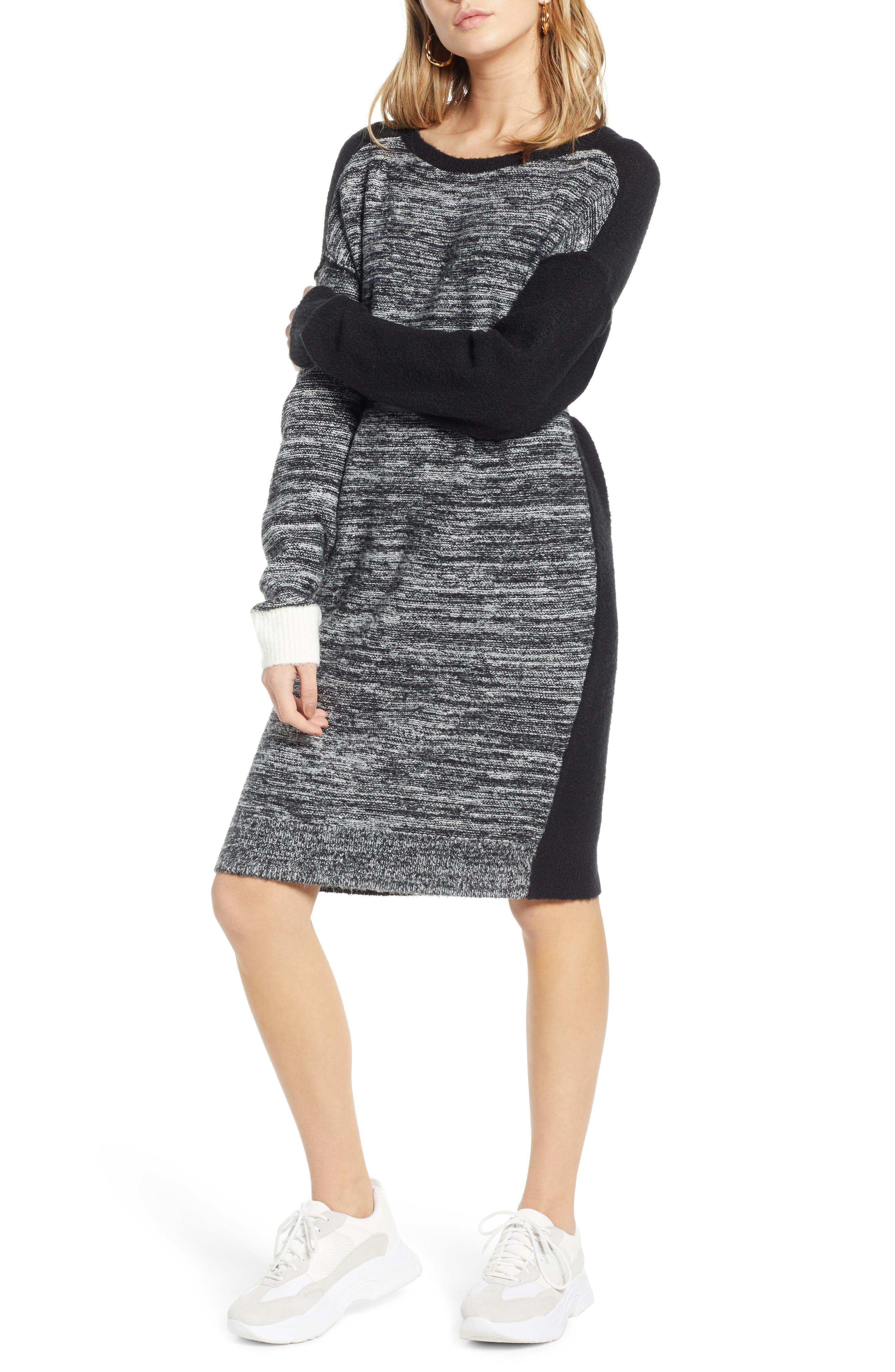 Treasure & Bond Colorblock Sweater Dress, Black