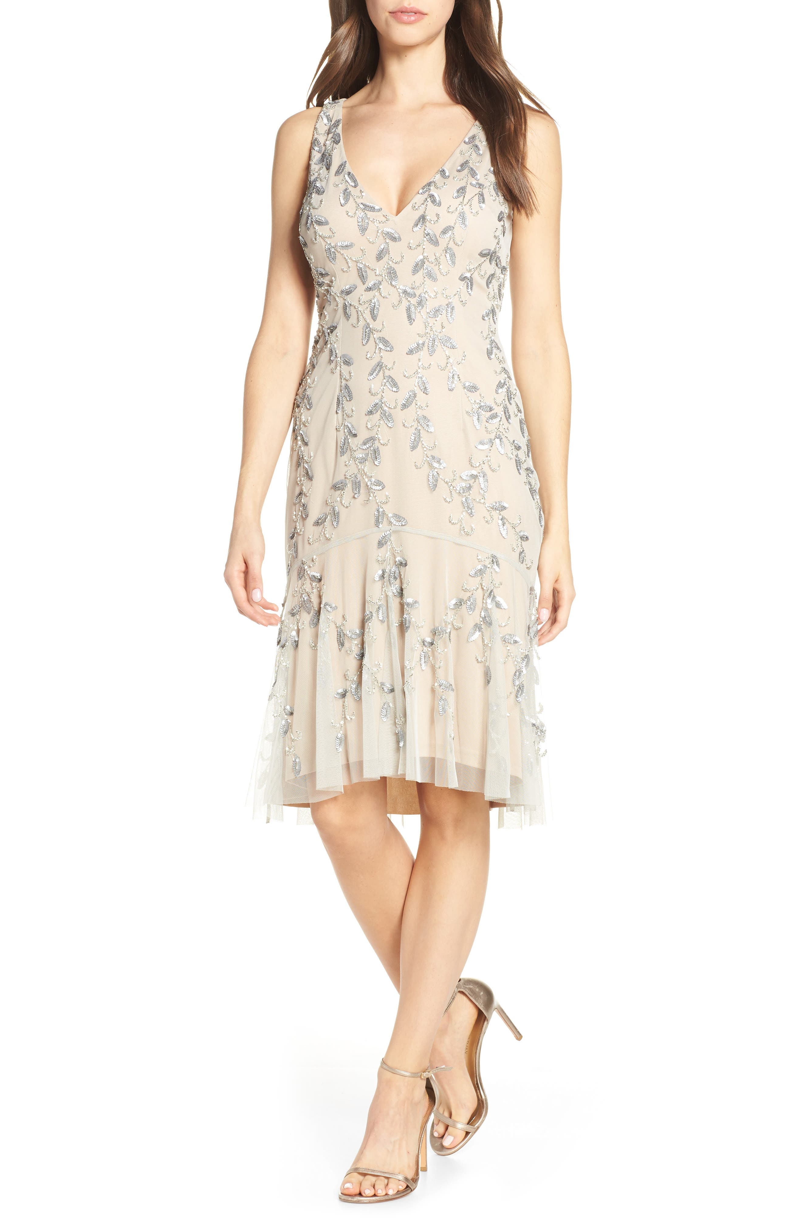 Adrianna Papell Beaded Cocktail Dress, Metallic