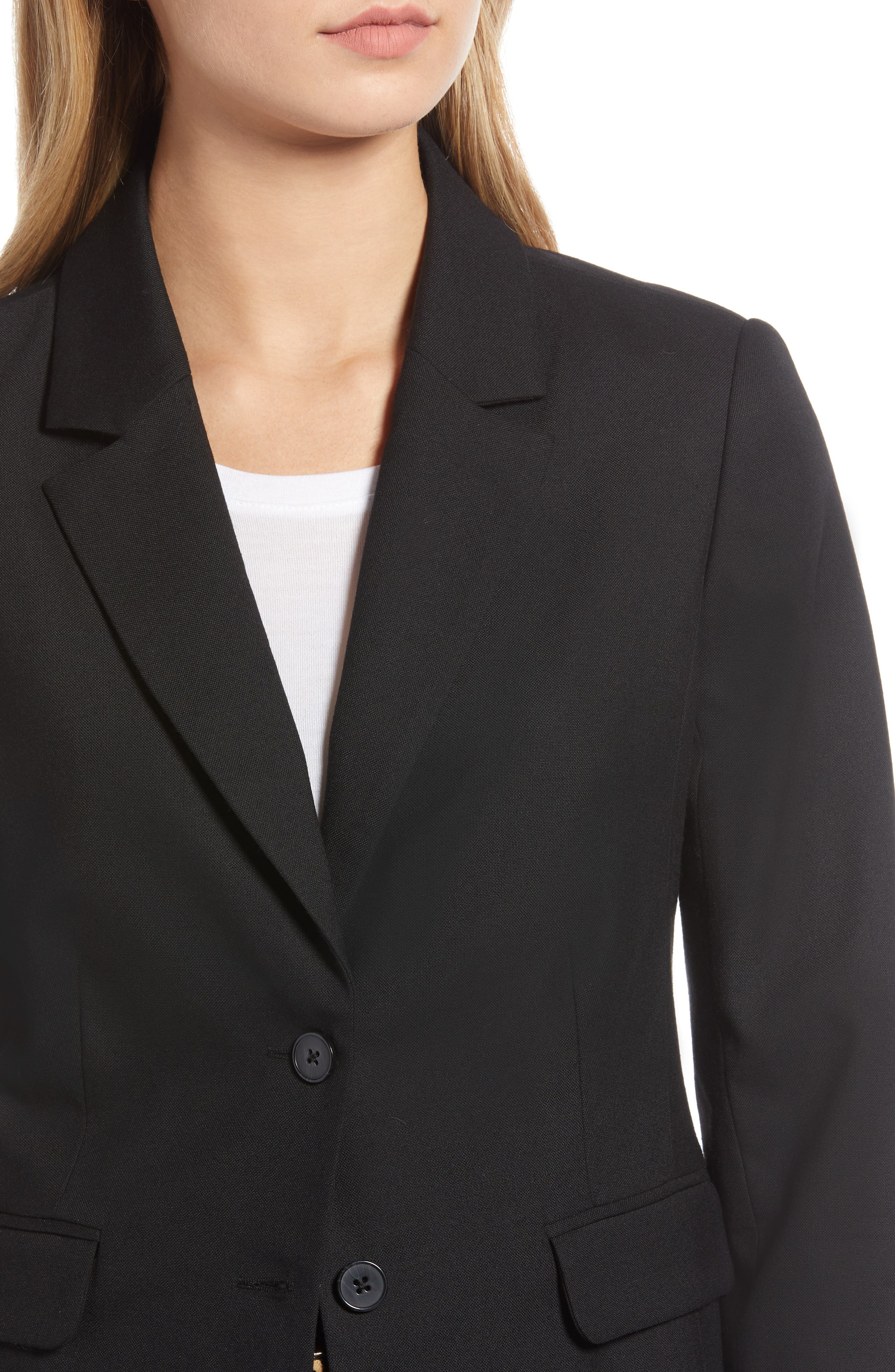 Original Wool Blazer,                             Alternate thumbnail 4, color,                             BLACK