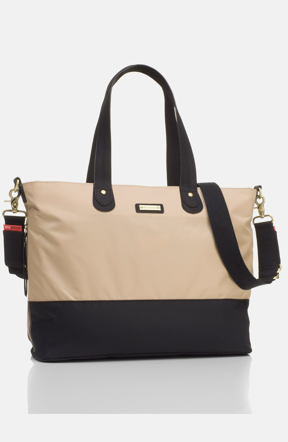 Diaper Tote,                             Main thumbnail 1, color,                             CHAMPAGNE/ BLACK